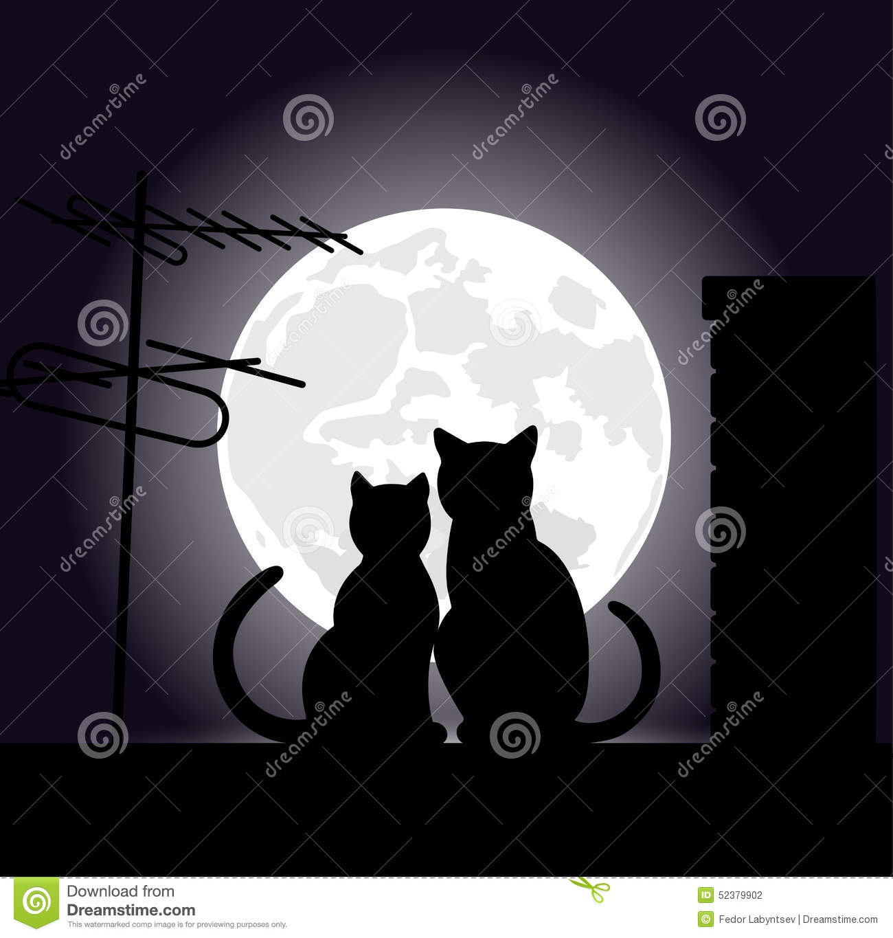 cats on a night roof stock vector   image 52379902