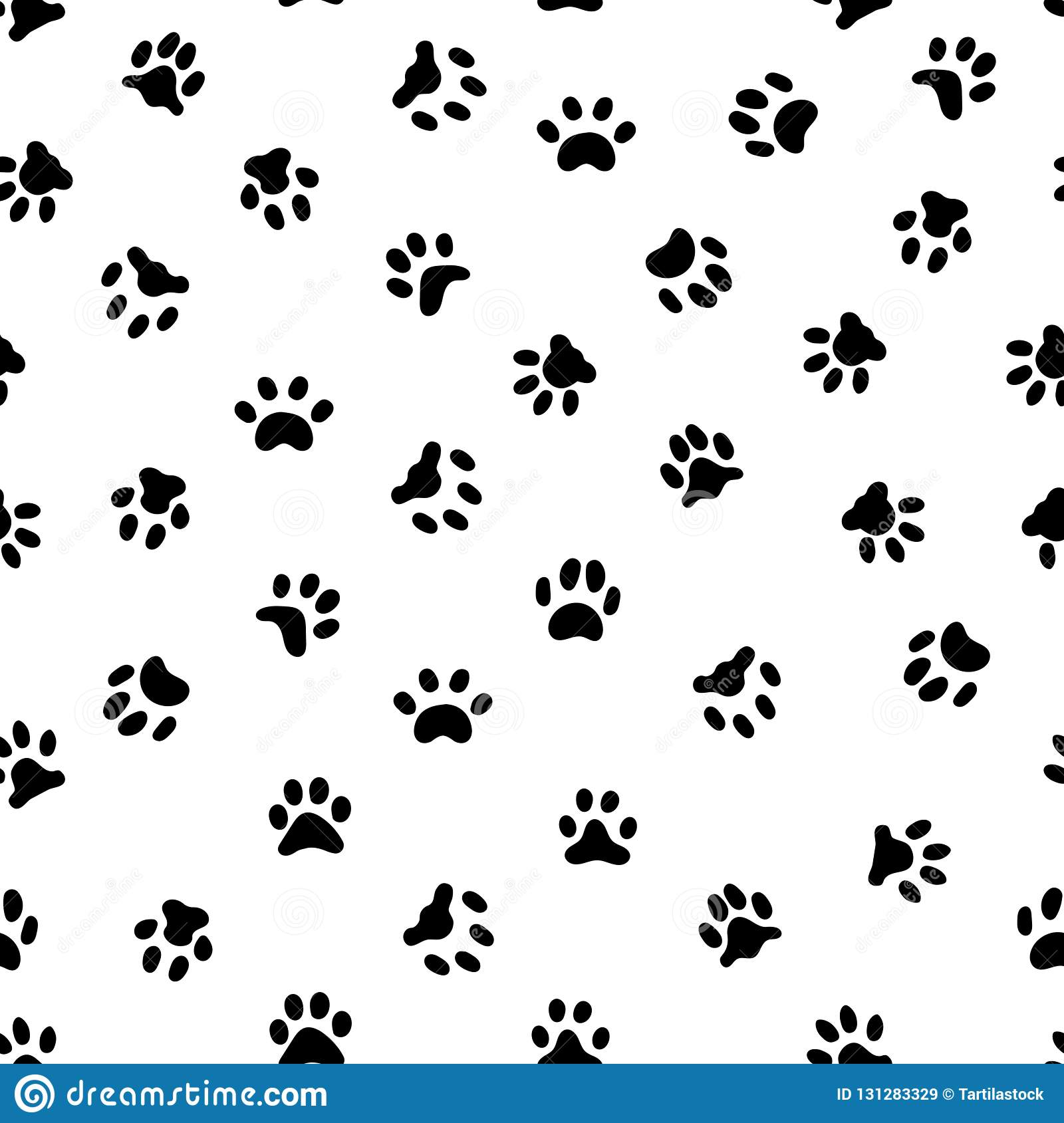 6652929387b4 Cat or dog paws footsteps prints, pets footprints and animal printed  footstep tracks. Kitten or dogs feet black footprint shape seamless  pattern, vector ...
