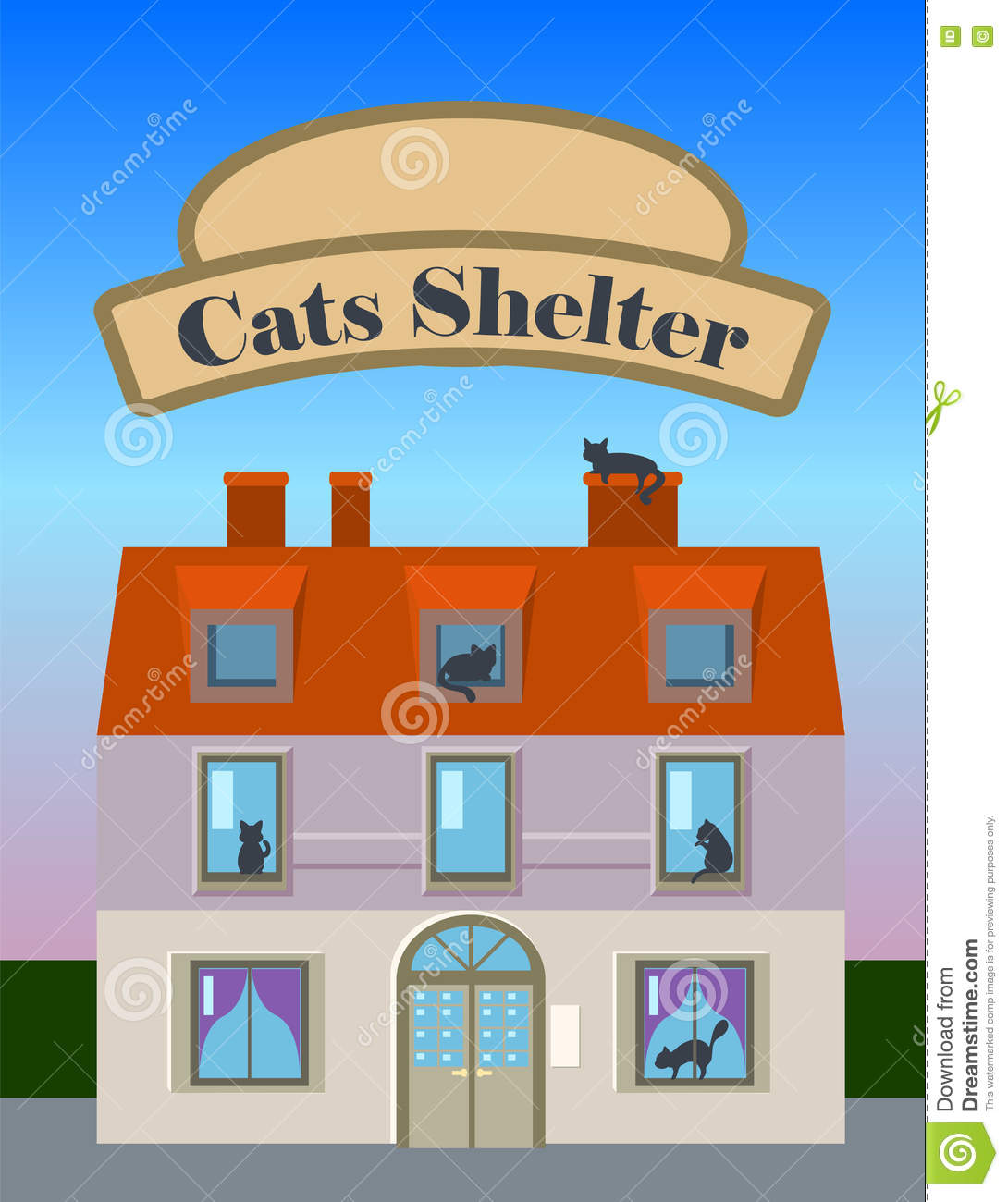 cats shelter house vertical illustration in flat style with banner rh dreamstime com vintage style cat house