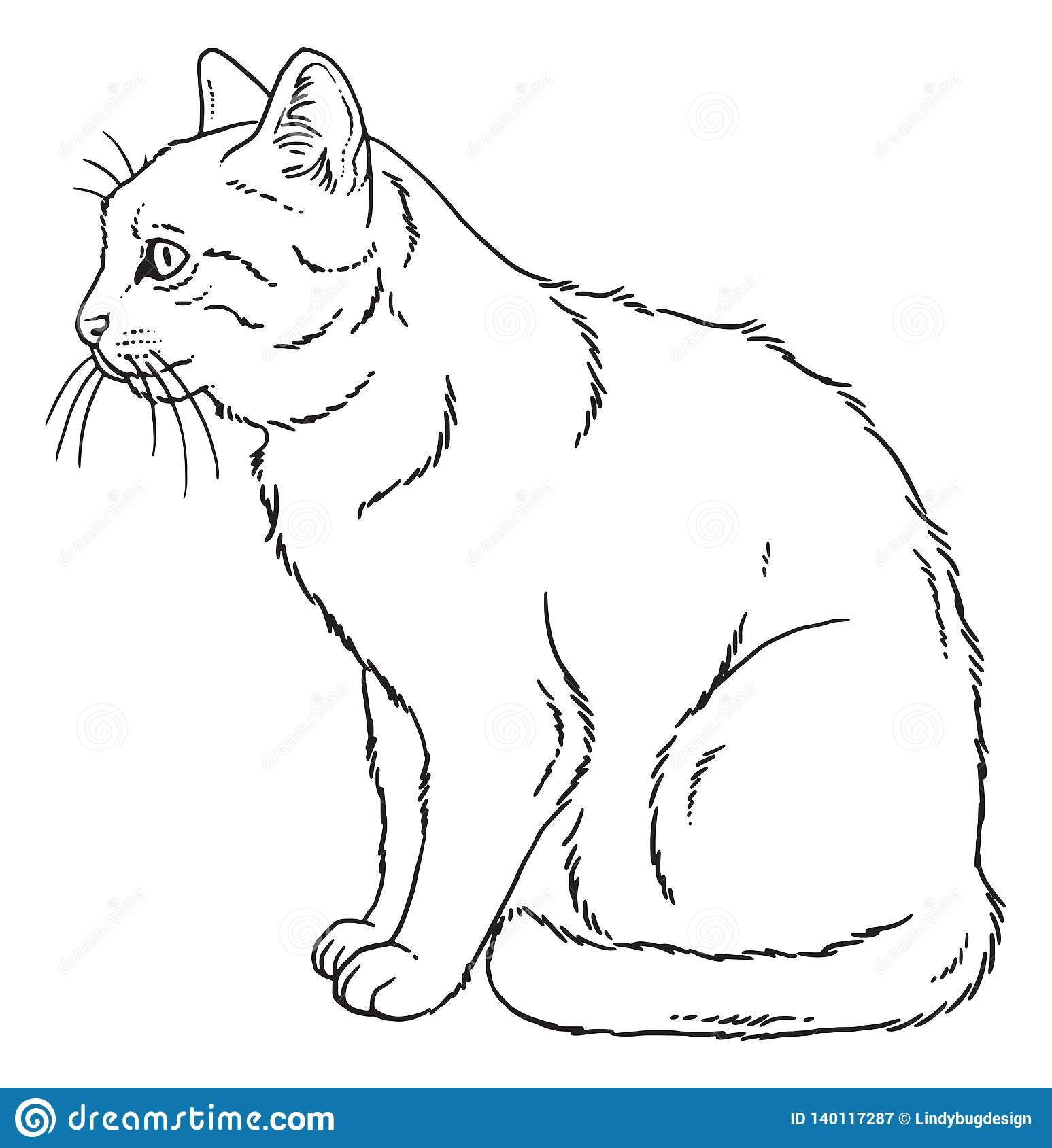 It is a graphic of Delicate Line Drawing Saut De Chat