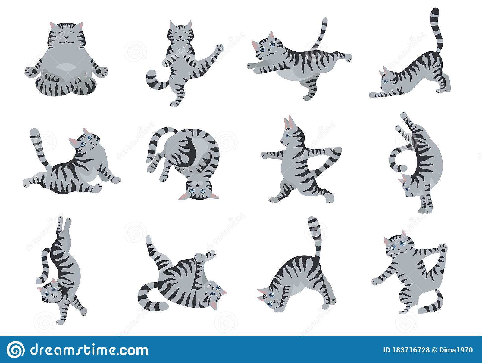 Cats Yoga Different Yoga Poses And Exercises Striped And Tabby Cat Colors Stock Vector Illustration Of Funny Clipart 183716728