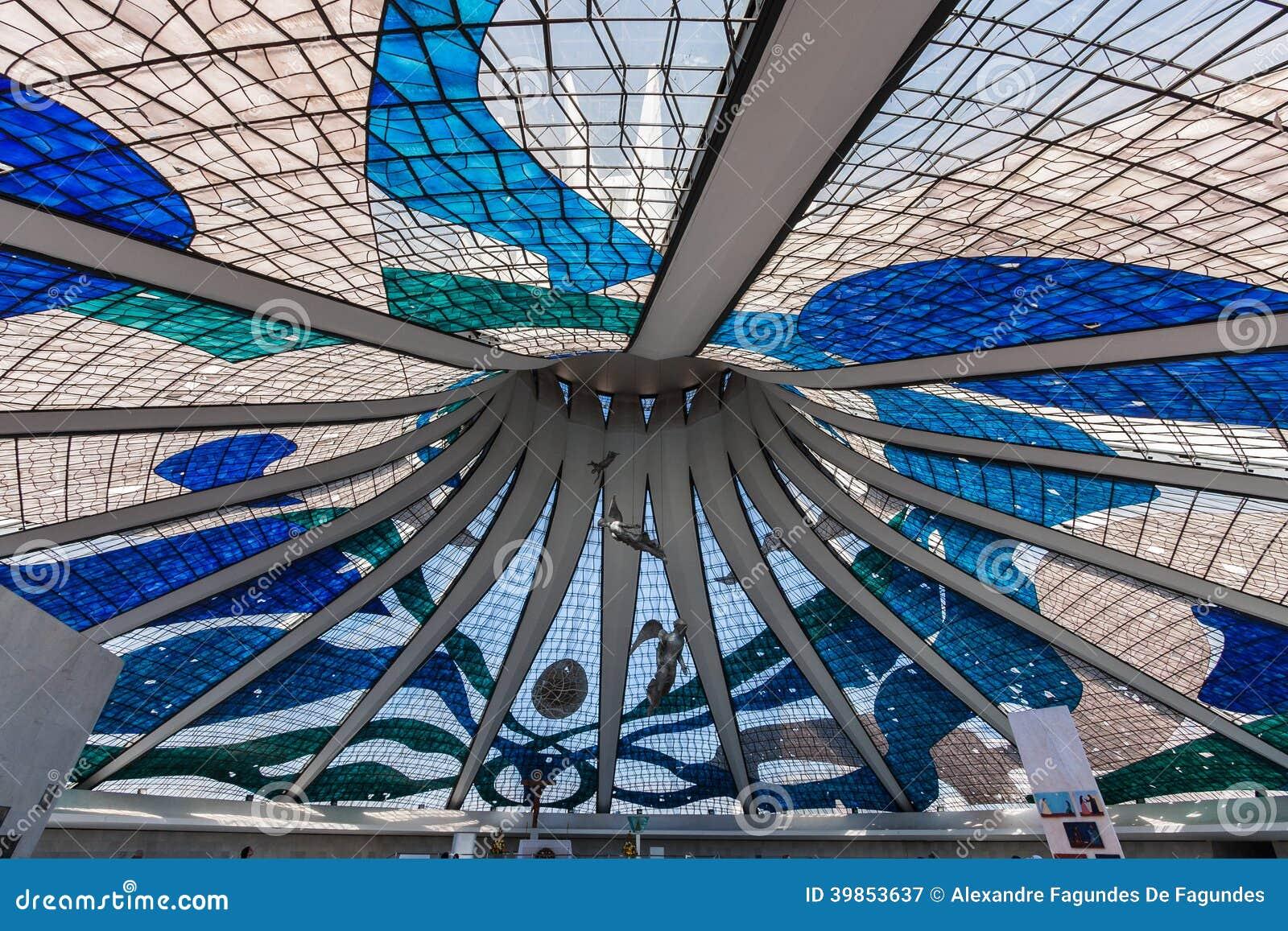 Cattedrale Brasile Di Brasilia Del Soffitto Di Vetro Fotografia Stock - Immag...