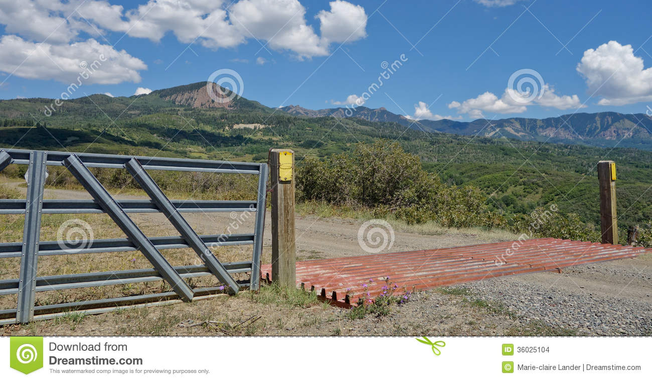 Cattle Guard And Fence In Colorado Mountains Stock Photo