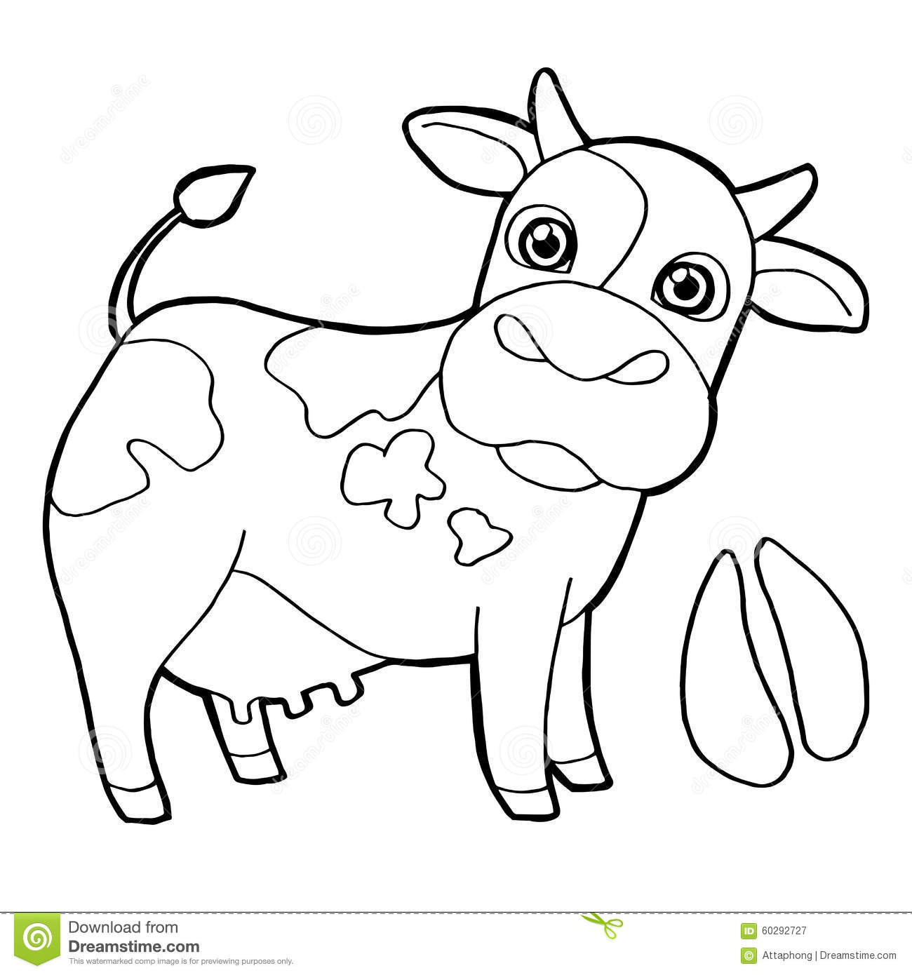 Cattle With Paw Print Coloring Pages Vector Stock Vector ...
