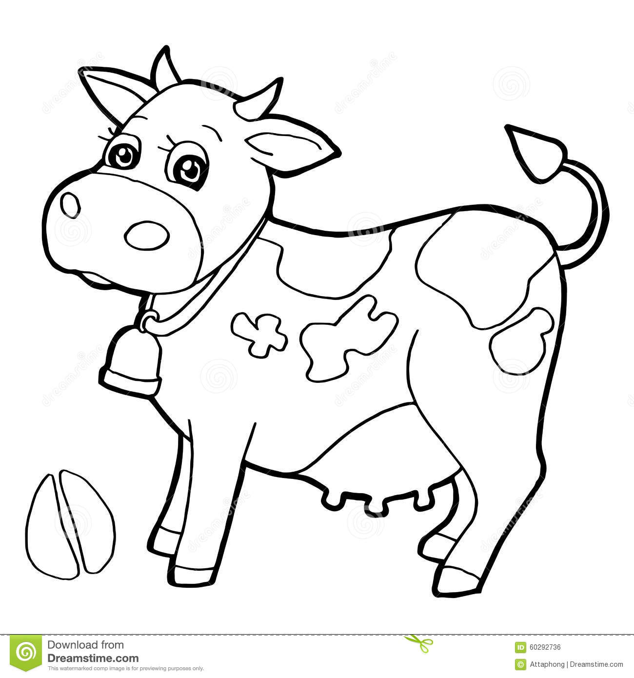Cattle With Paw Print Coloring Pages Vector Cartoon Children