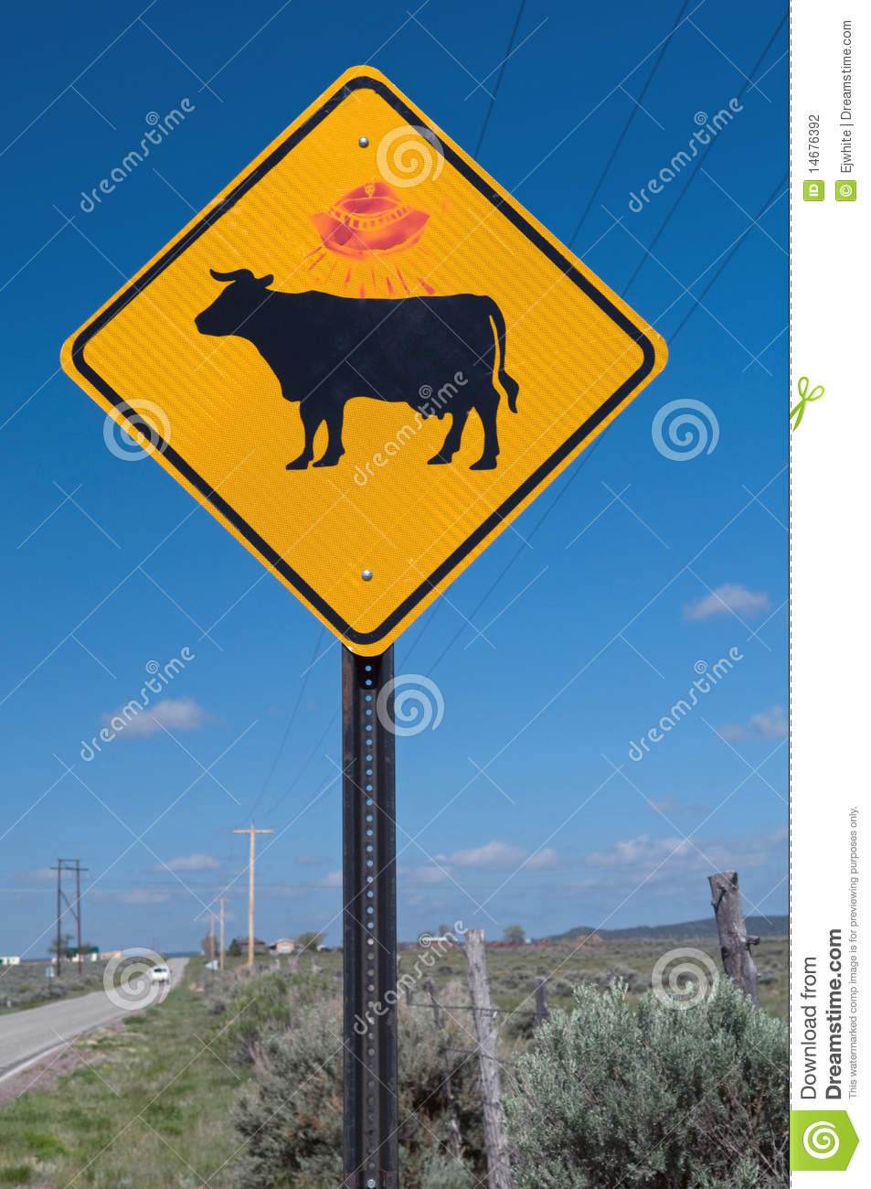 Cattle warning sign with UFO graffiti, New Mexico