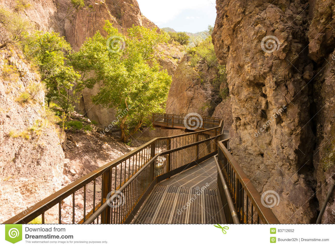 A Catwalk Across A Canyon In New Mexico Stock Photo