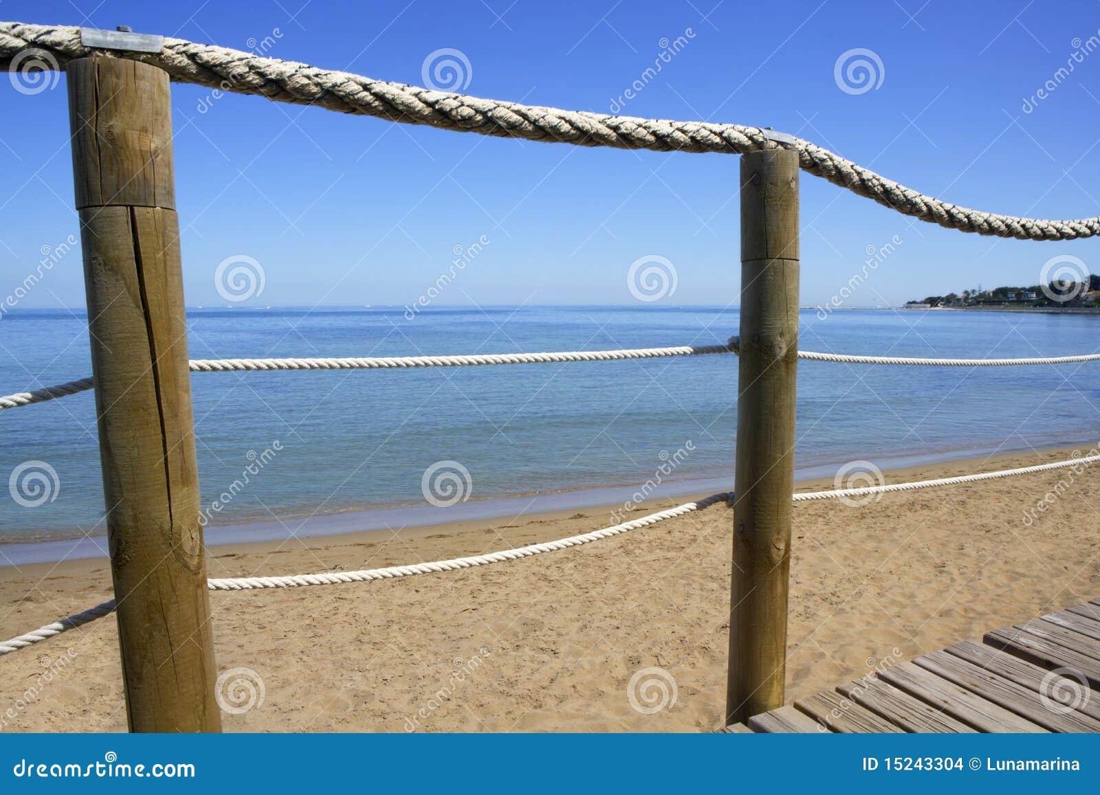 Catwalk On Wood Rope Railing On Sea Beach Stock Photo - Image of ...
