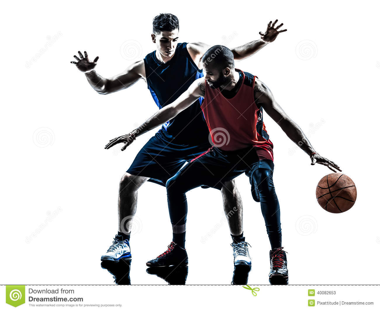 Caucasian And African Basketball Players Man Silhouette ...
