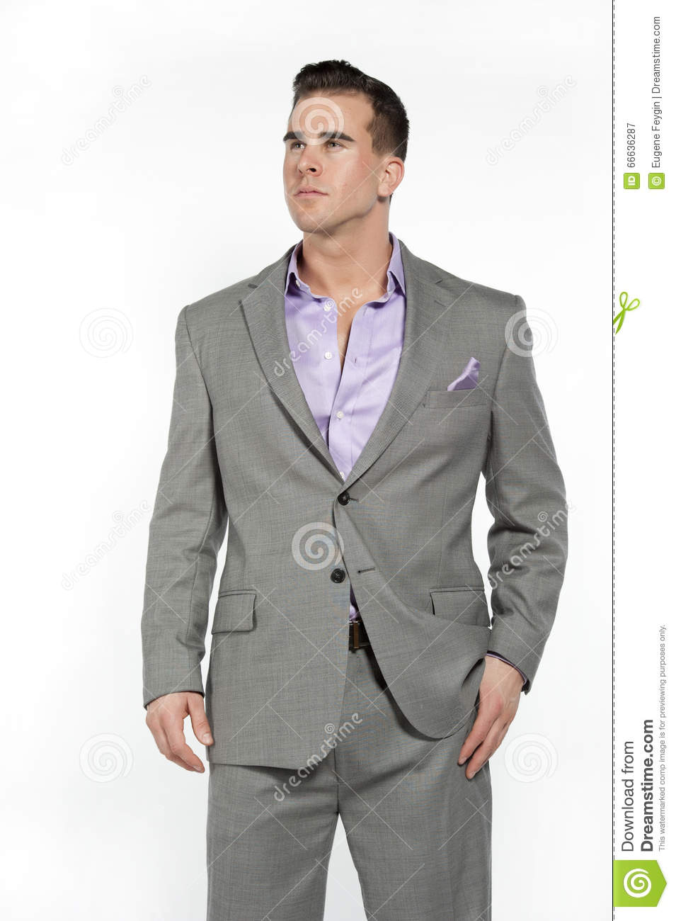 Caucasian Athletic Male In Fitted Gray Suit Stock Photo - Image