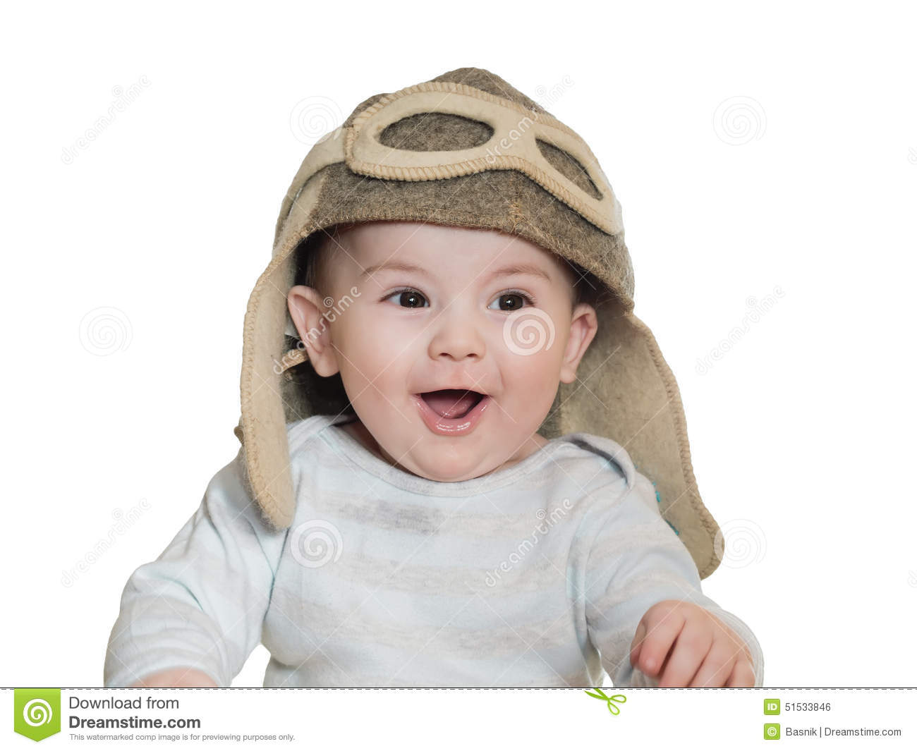 Caucasian Baby Boy In Pilot Hat Isolated Stock Photo - Image of ... d7ec5bb3312