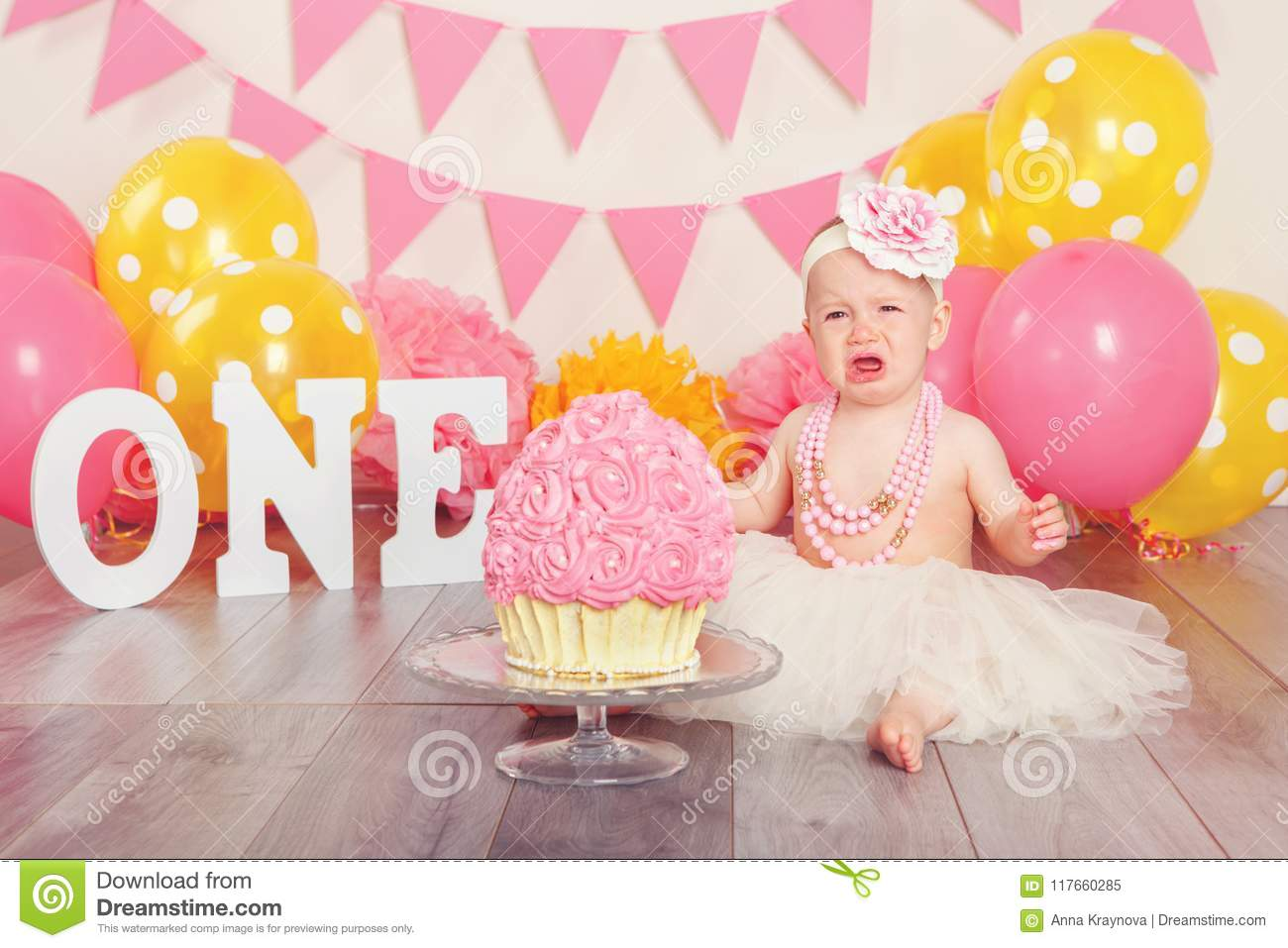 Enjoyable Caucasian Baby Girl In Tutu Tulle Skirt Celebrating Her First Personalised Birthday Cards Cominlily Jamesorg