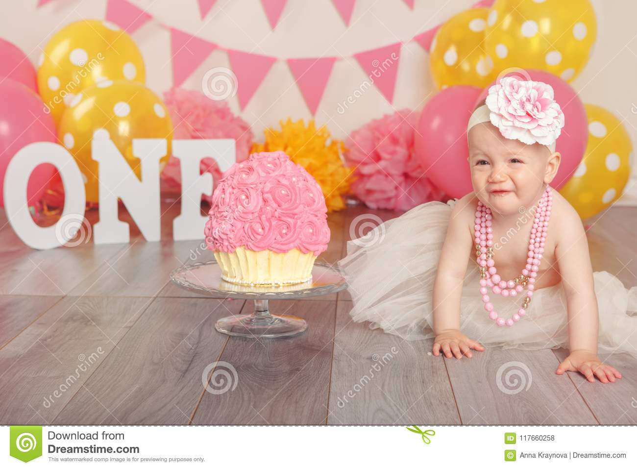 Terrific Caucasian Baby Girl In Tutu Tulle Skirt Celebrating Her First Funny Birthday Cards Online Sheoxdamsfinfo