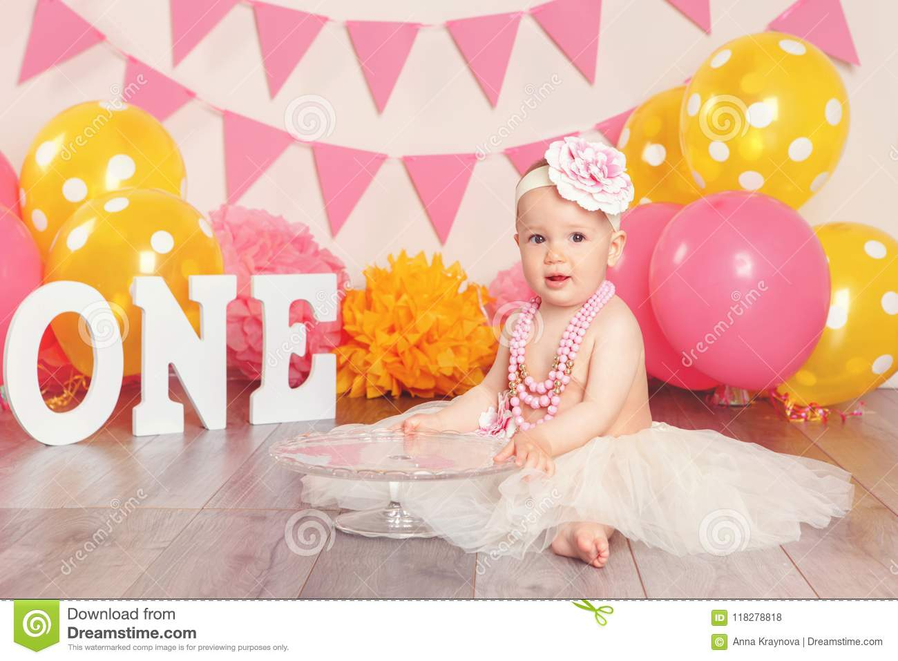 Swell Caucasian Baby Girl In Tutu Tulle Skirt Celebrating Her First Personalised Birthday Cards Akebfashionlily Jamesorg