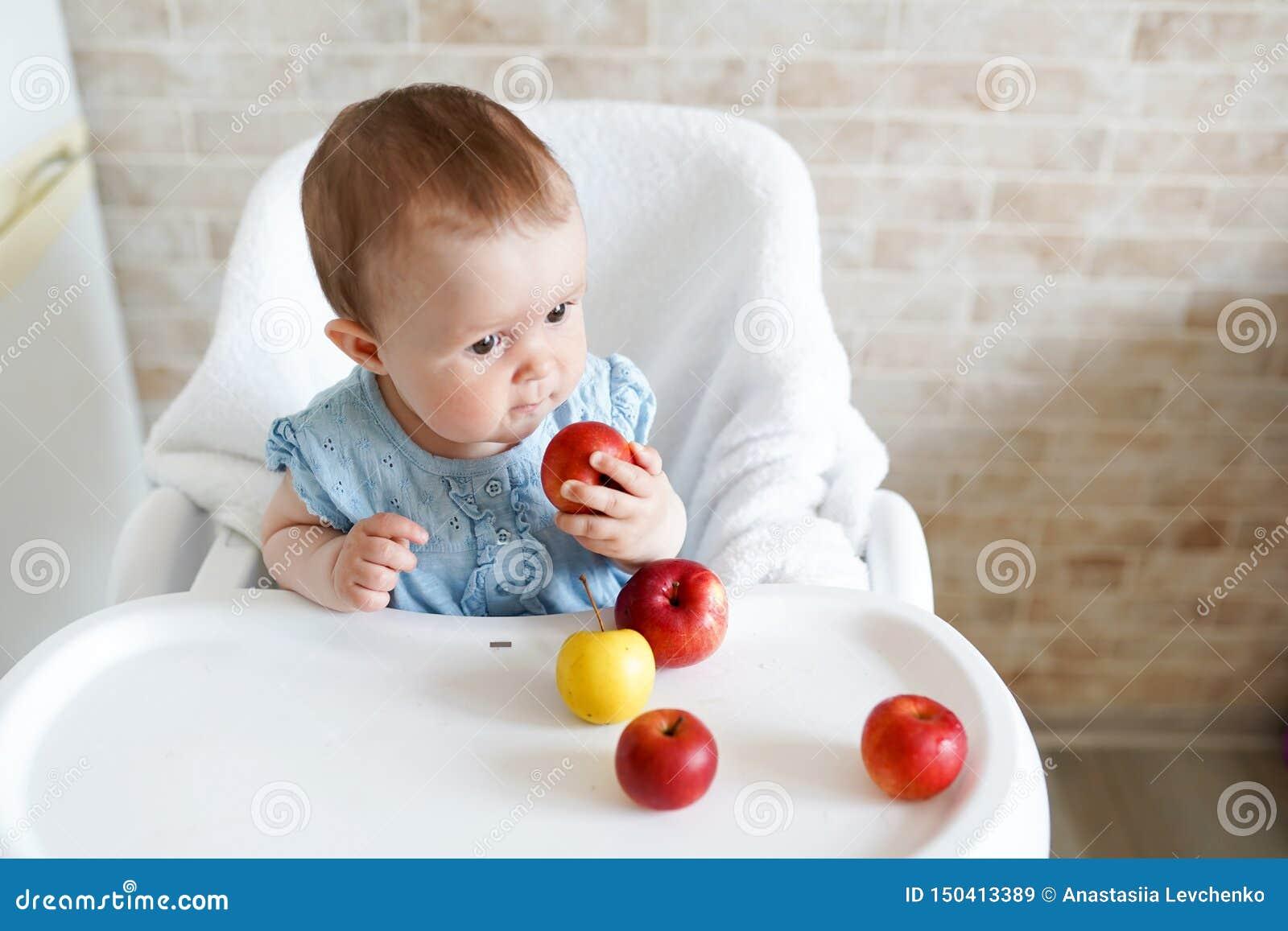 Caucasian barnungeflicka som sitter i hög stol som äter äpplefrukt Daglig livsstil Verkligt autentiskt s?tsakhem?gonblick kopia