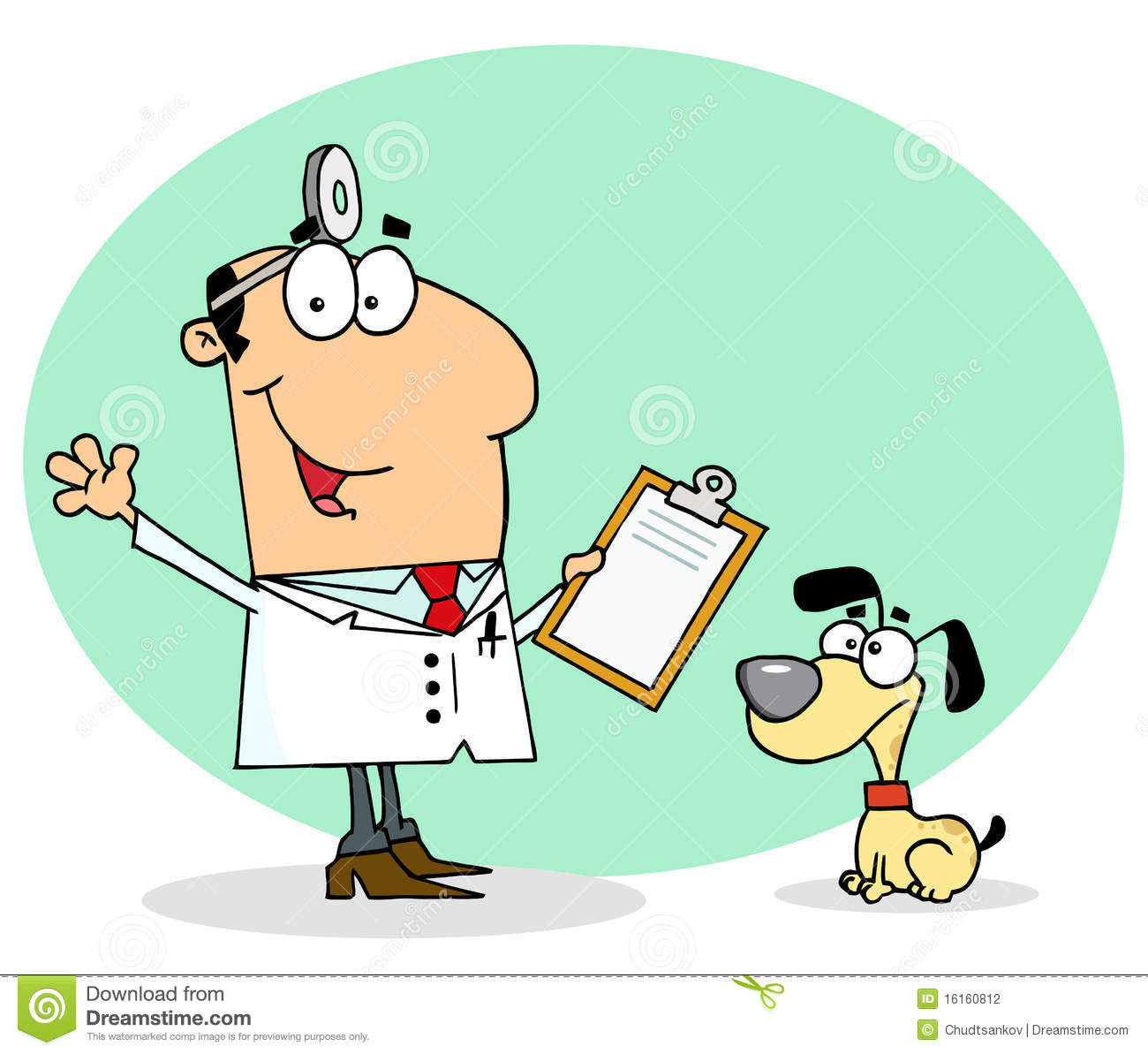 Caucasian cartoon canine veterinarian man