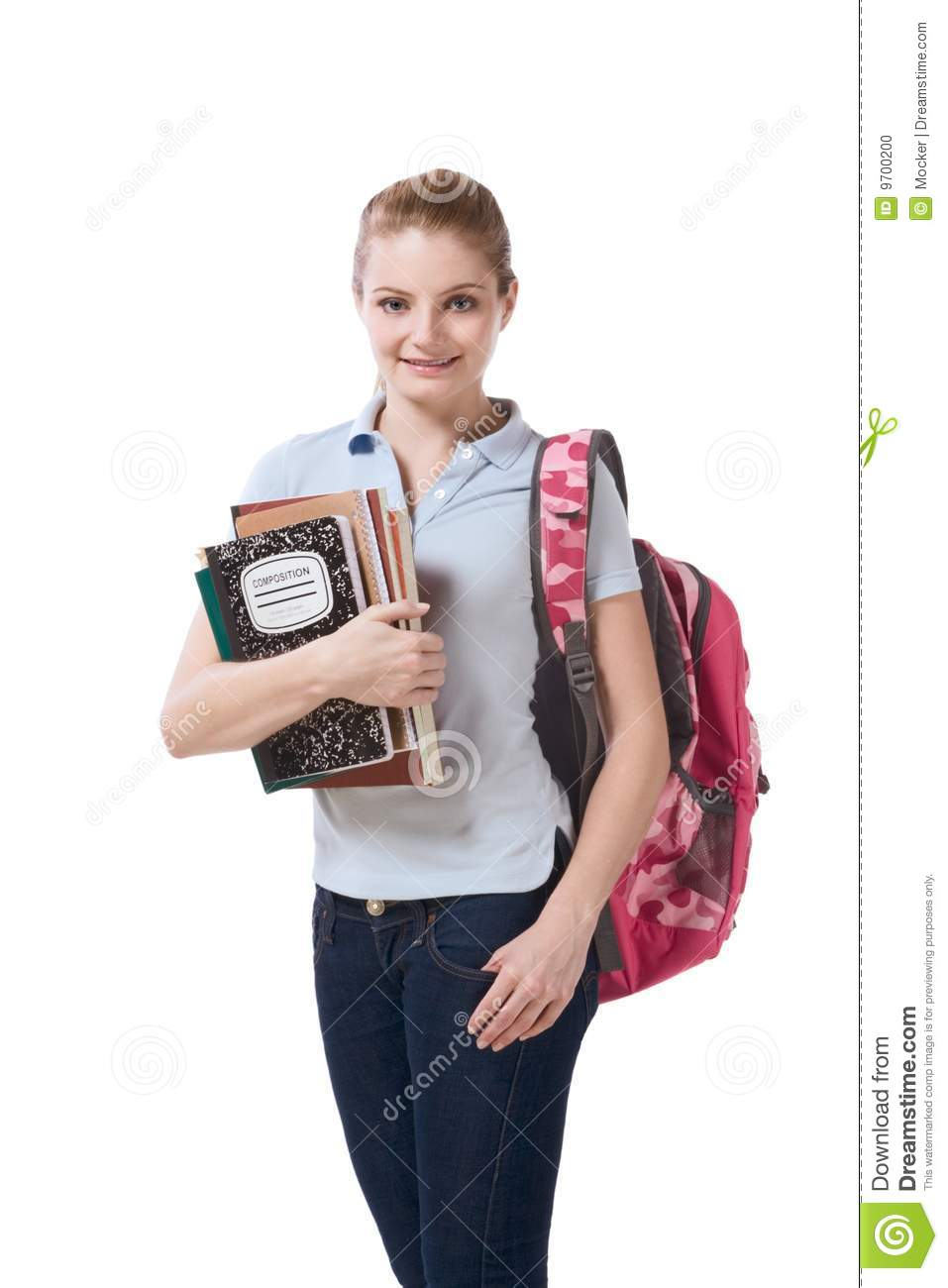 Caucasian College Student With Backpack Notebooks Stock Photo ...