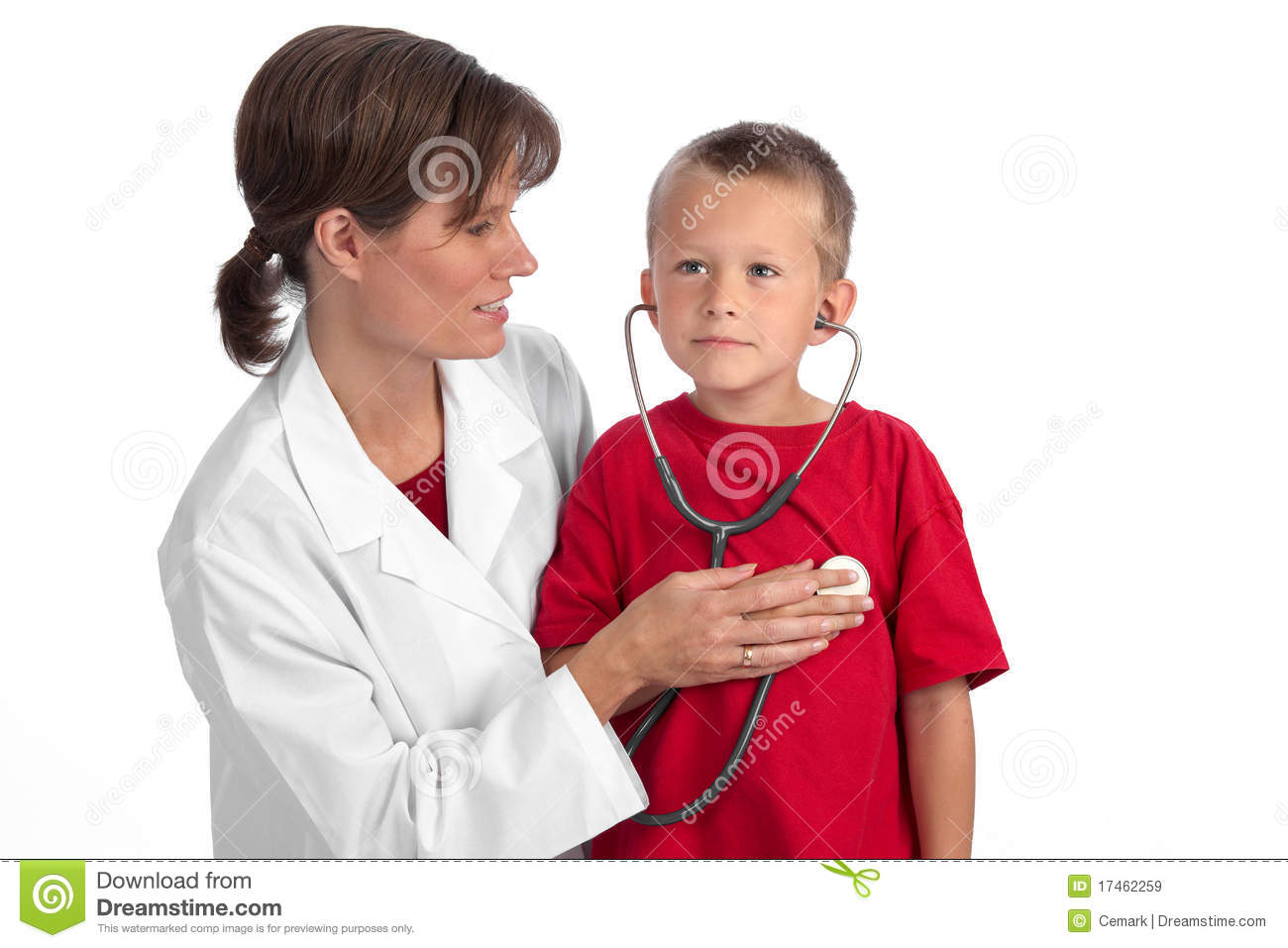 Female caucasian doctor giving a cute blond boy a physical, letting ...