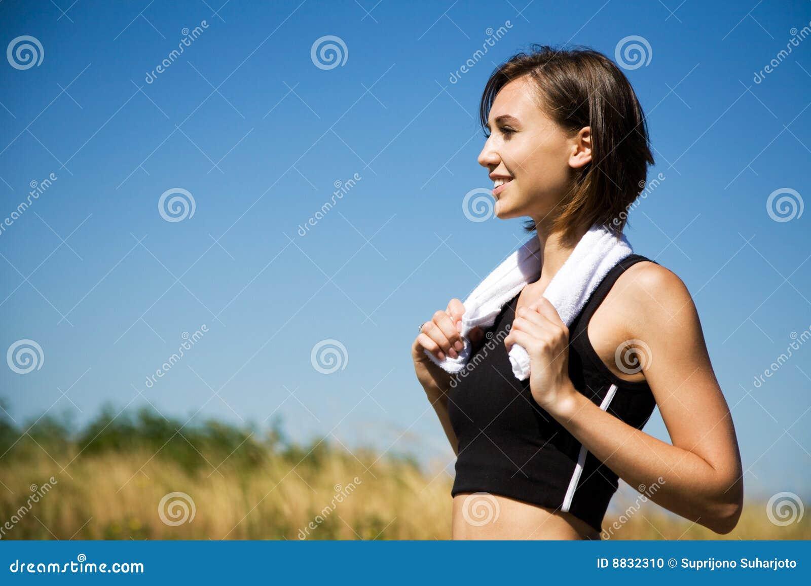 Caucasian girl exercise outdoor