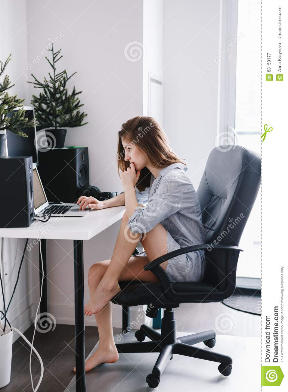Caucasian Girl Woman Student In Pajamas Shirt Working On Laptop Computer Stock Image Image Of Communication Home 88150177