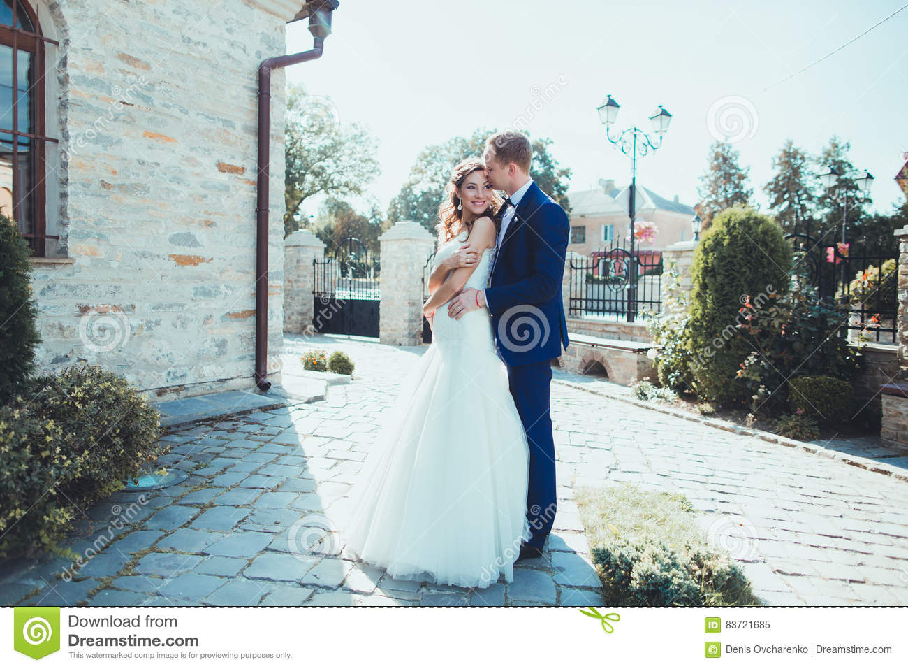 Caucasian Happy Romantic Young Couple Celebrating Their Marriage Stock Photo