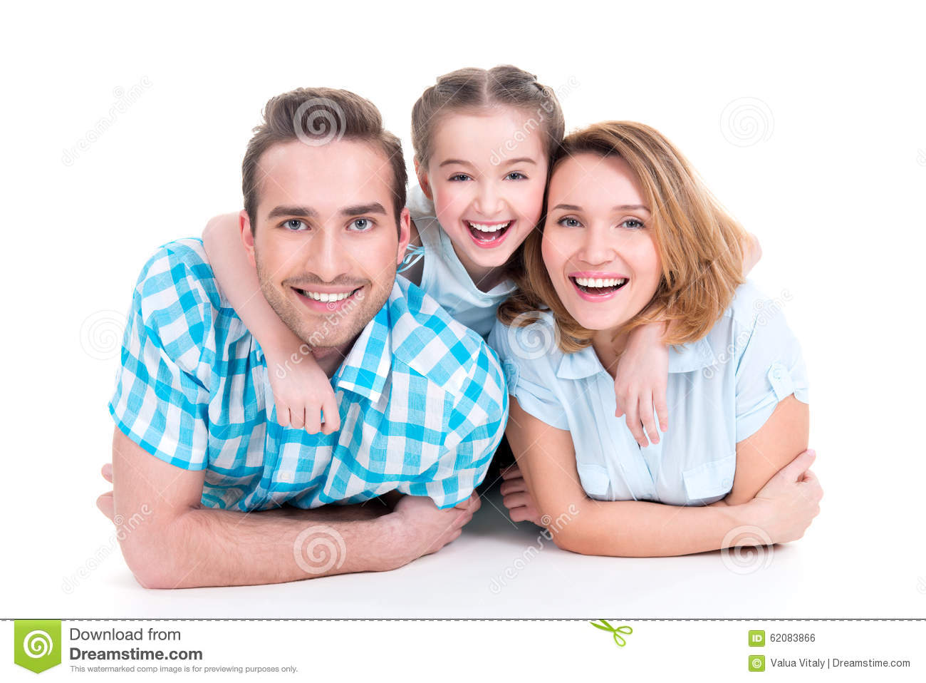 Caucasian happy smiling young family with little girl
