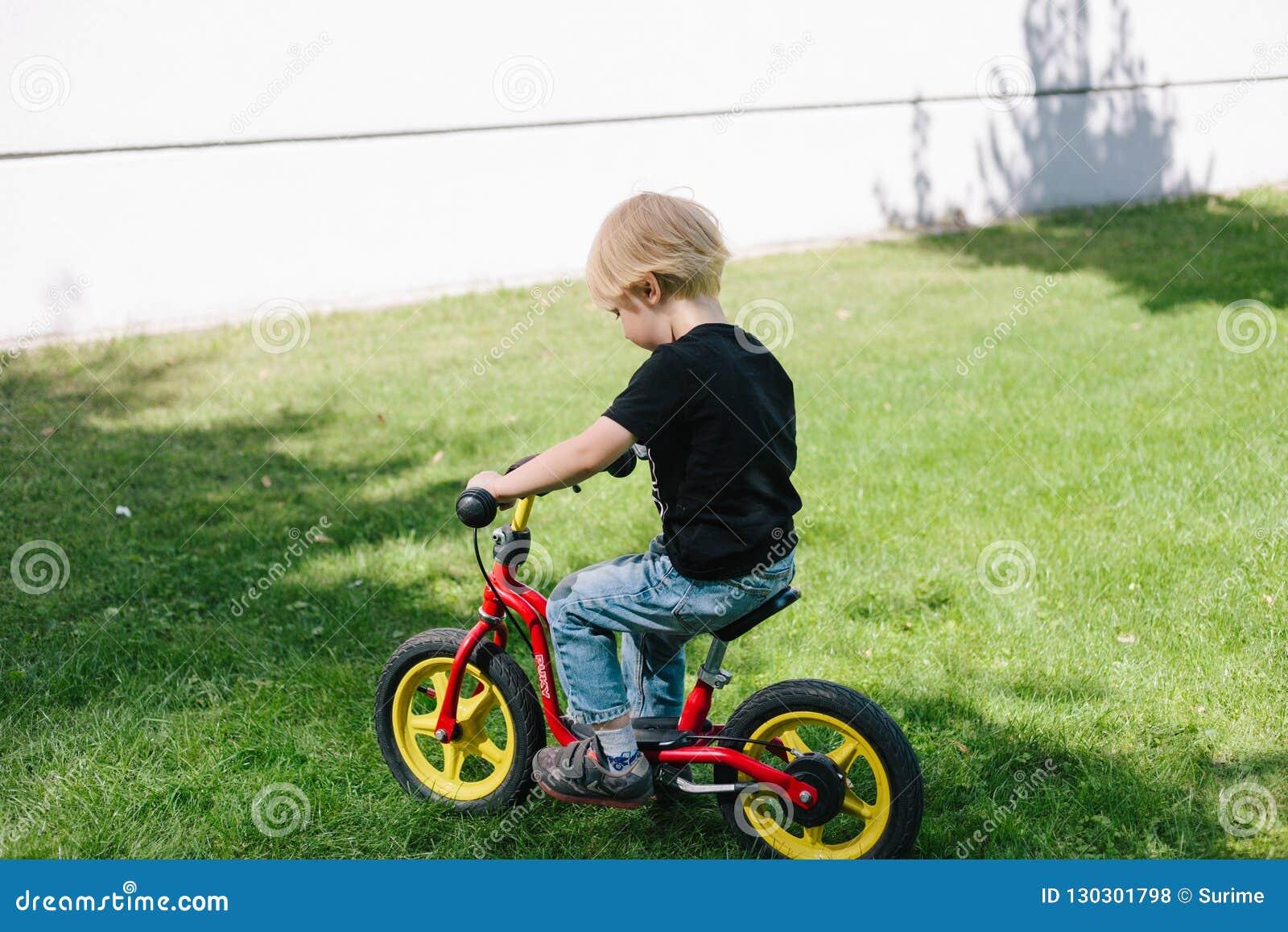 Caucasian Kid On Bicycle Stock Photo Image Of Beautiful 130301798
