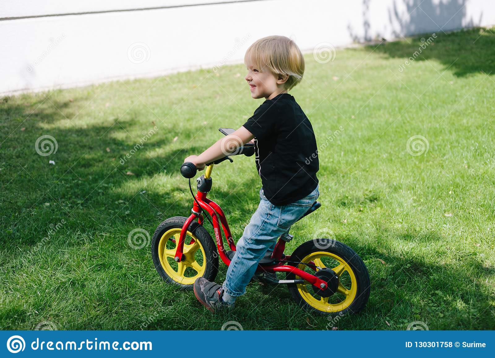 Caucasian Kid On Bicycle Stock Photo Image Of Baby 130301758