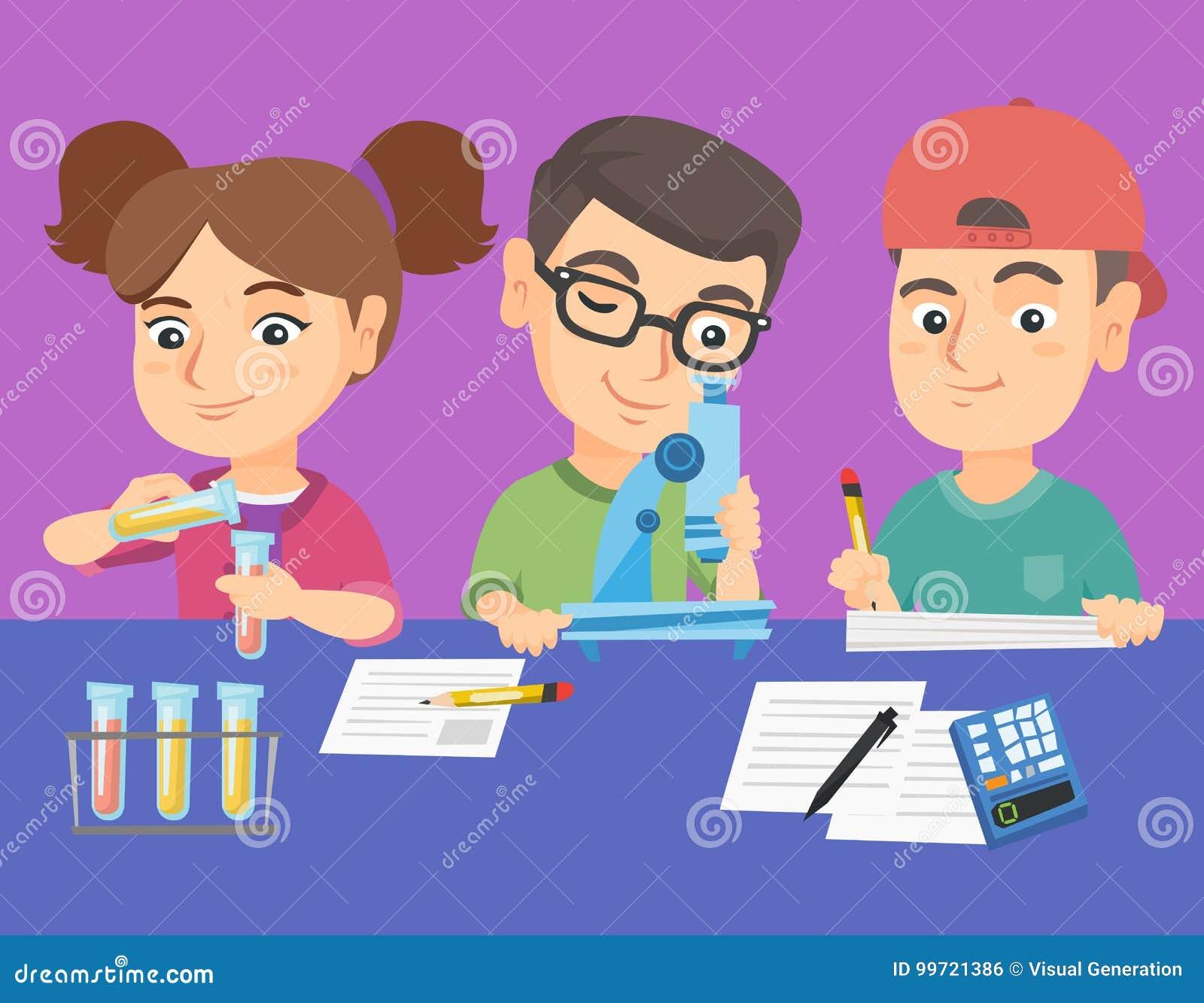 Caucasian Kids Making Chemical Experiment  Stock Vector