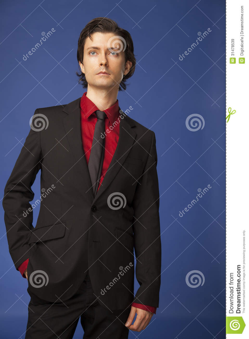 Caucasian male wearing a suit for business or fashion for Black suit with black shirt and tie