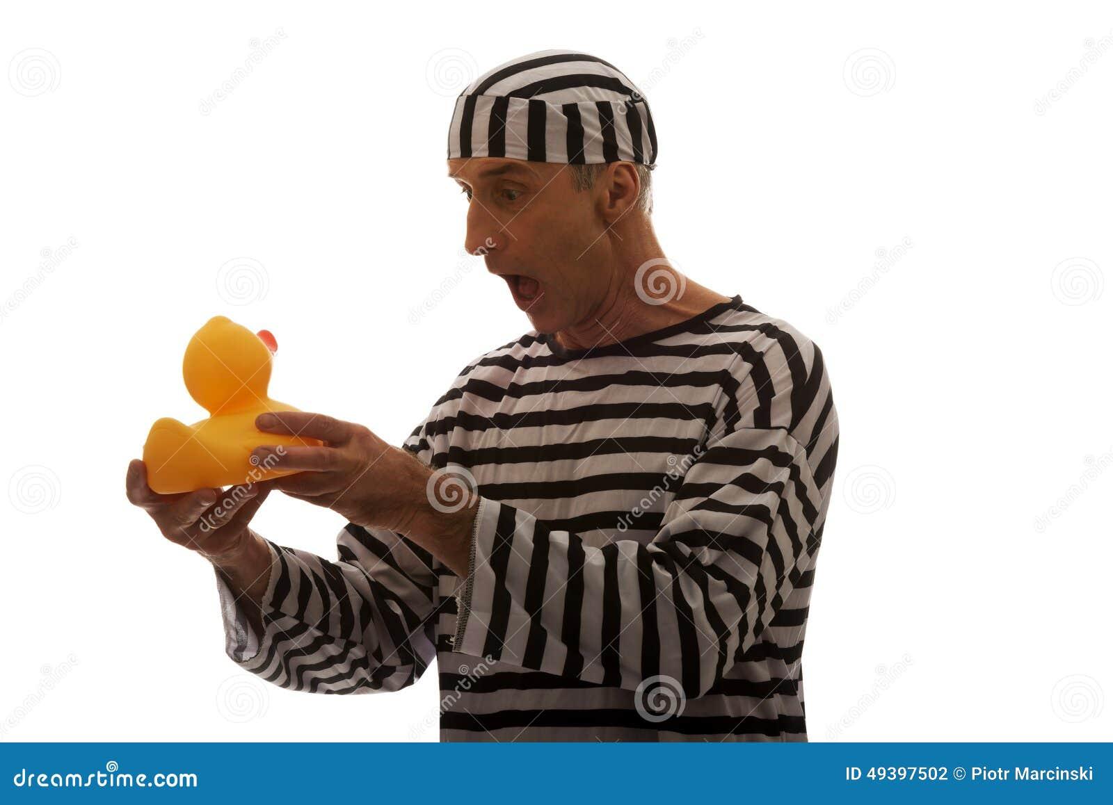 Caucasian man prisoner criminal with rubber duck