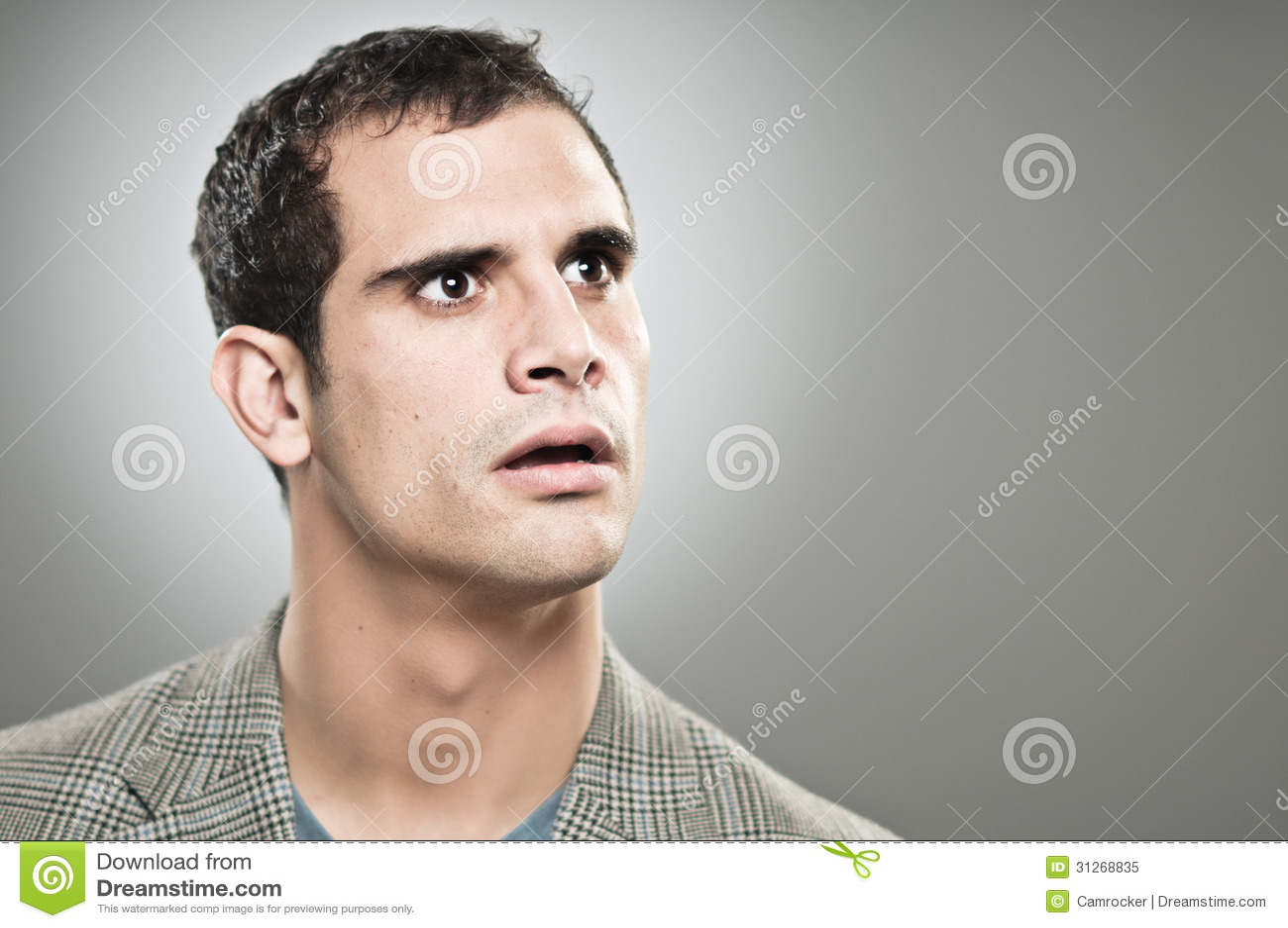 caucasian man worried expression portrtait stock image