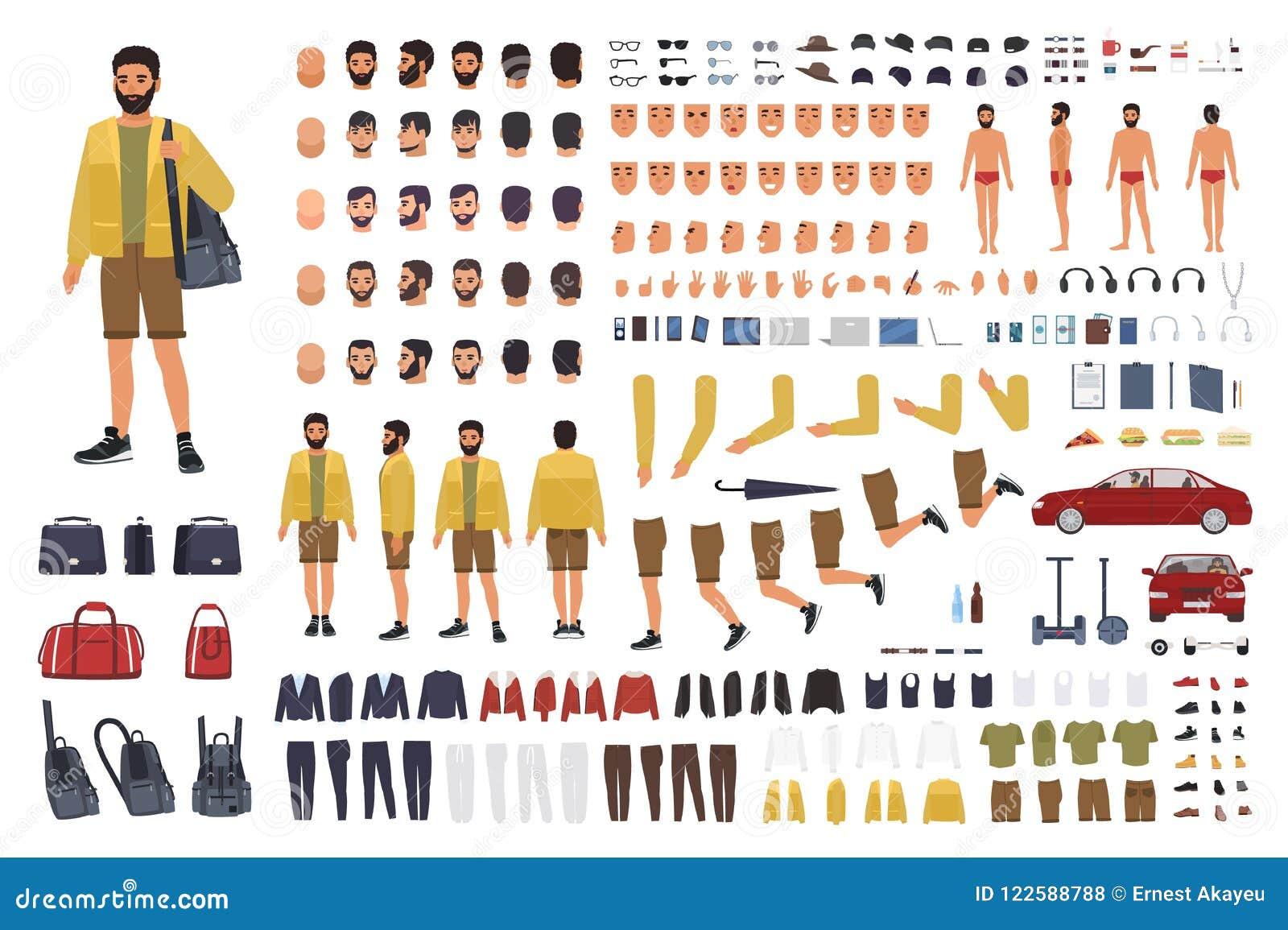 Caucasian mankonstruktör eller DIY-sats Samling av kroppsdelar för manligt tecken, handgester, bekläda som isoleras på vit