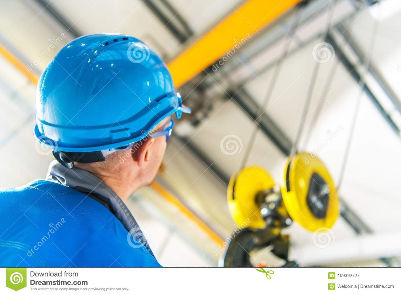 Lift Crane And Head Protection Stock Image - Image of work