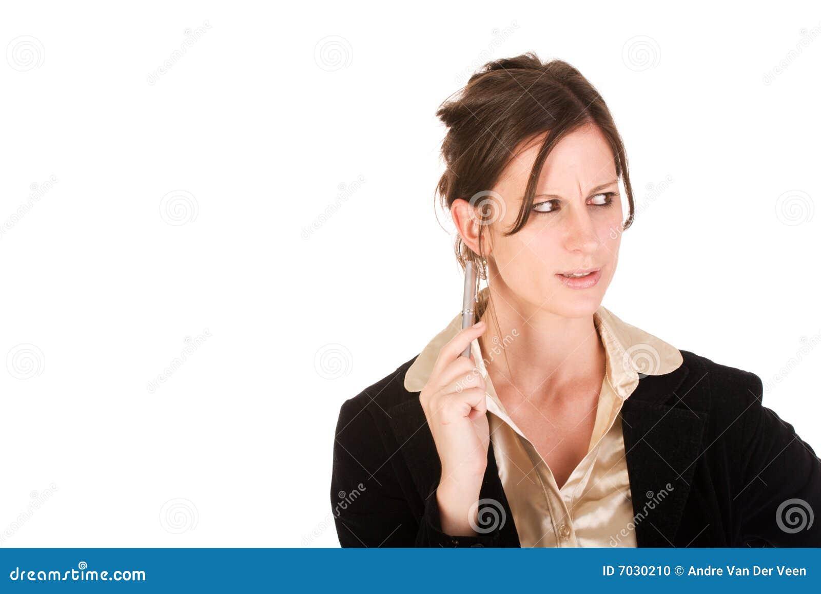 Caucasian seende kvinna för förargad affär