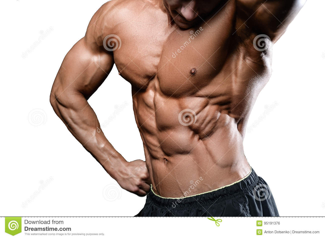 Caucasian Fitness Model In Gym Close Up Abs Stock Photo - Image of ...
