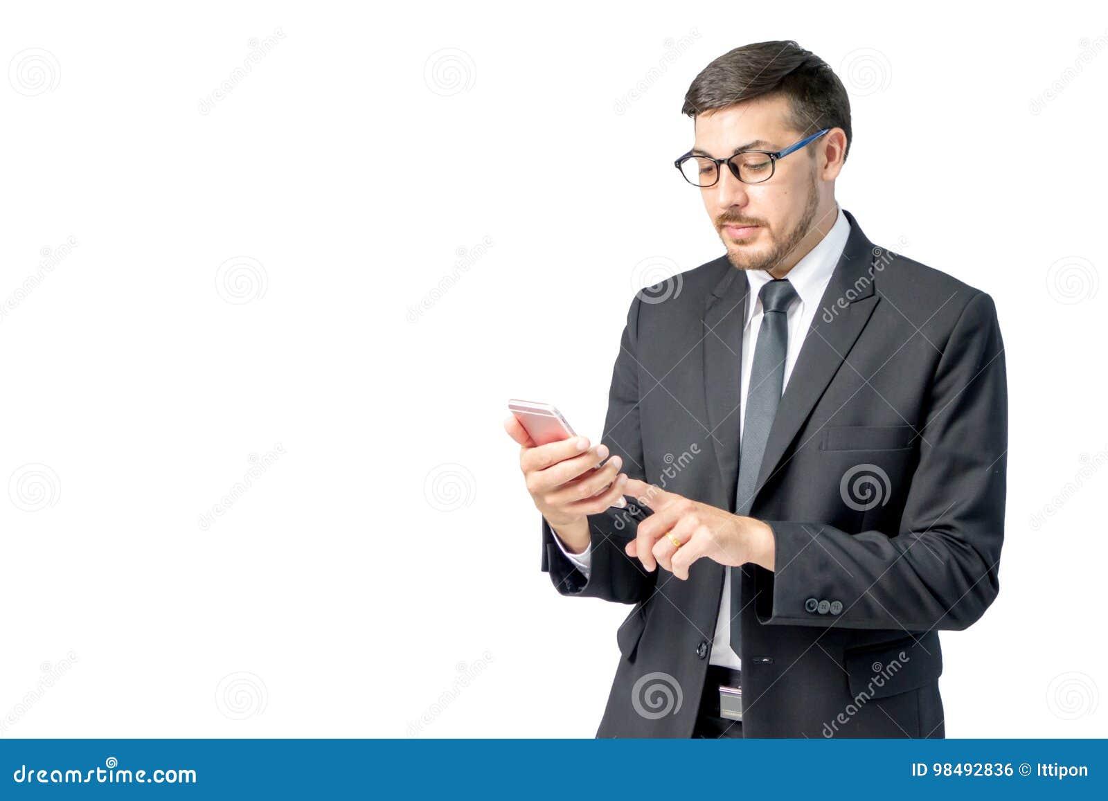 Caucasian smartphone för bruk för affärsman
