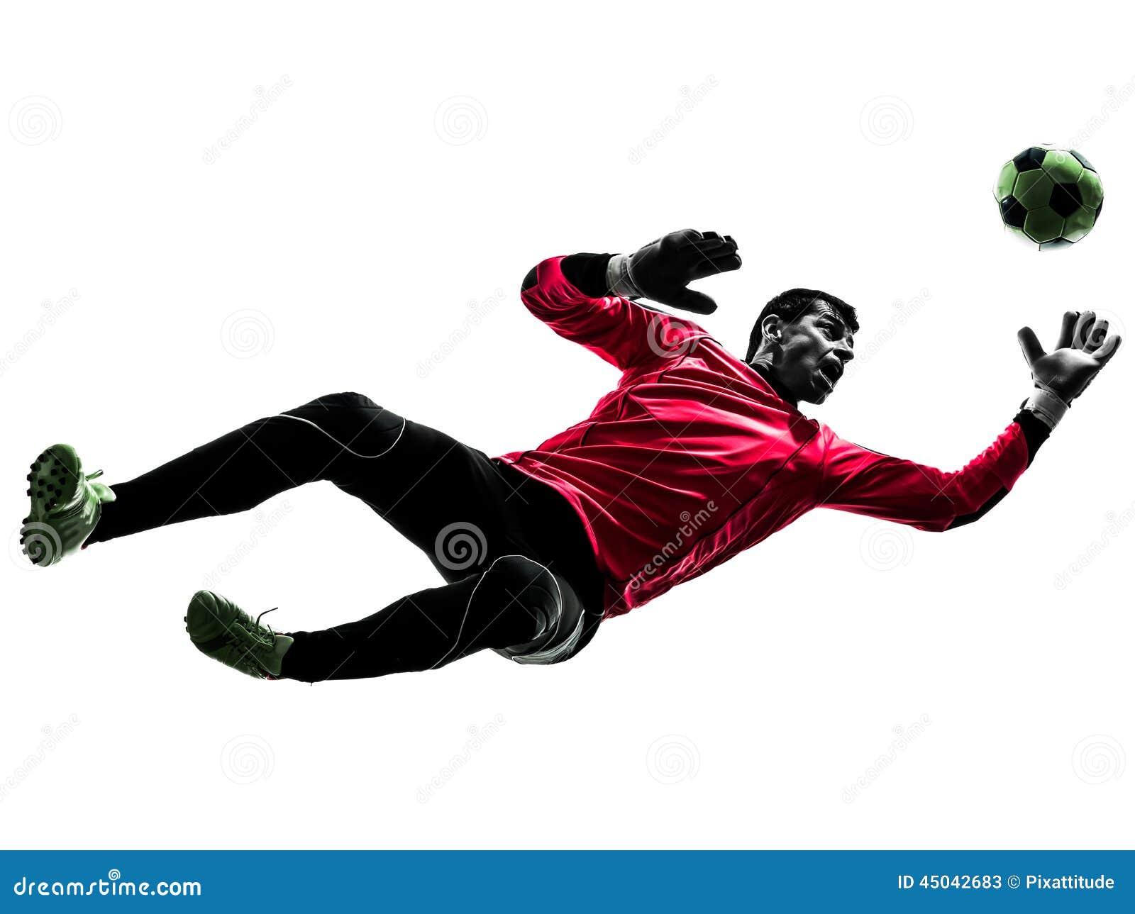 caucasian soccer player goalkeeper man jumping silhouette football player vector art football players vector art black and white