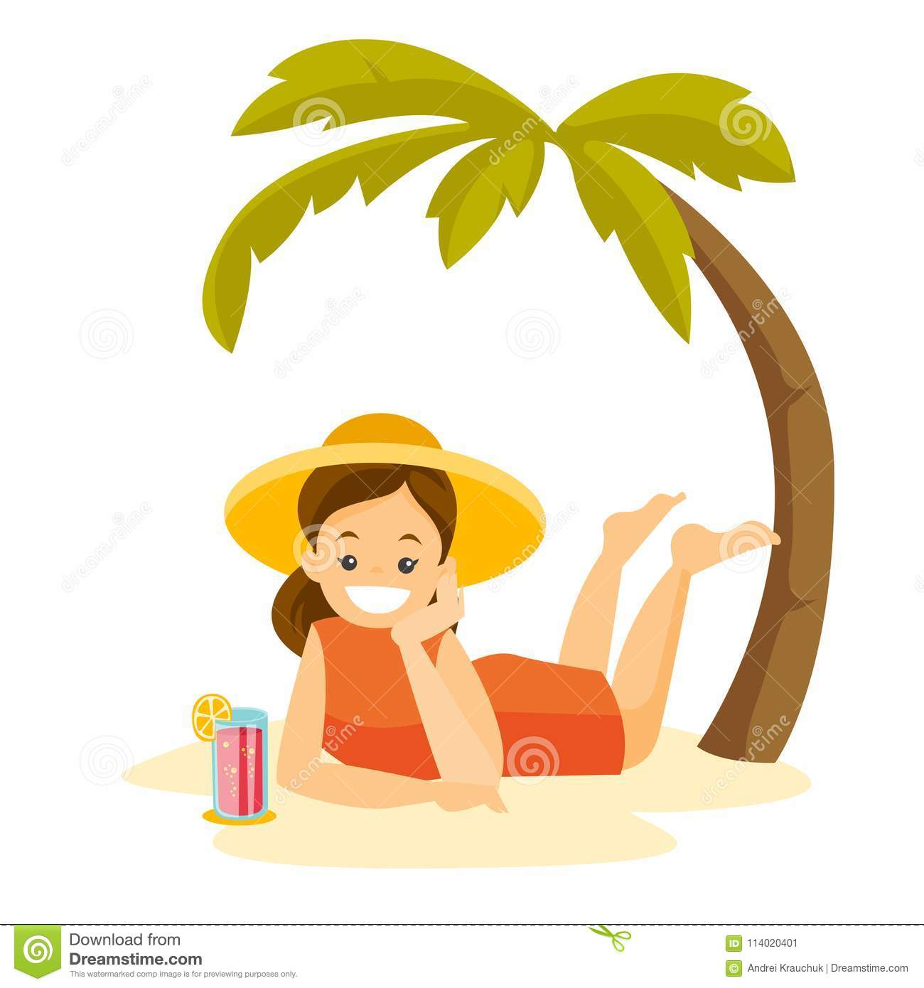 Caucasian Woman Lying On The Beach Under The Palm. Stock