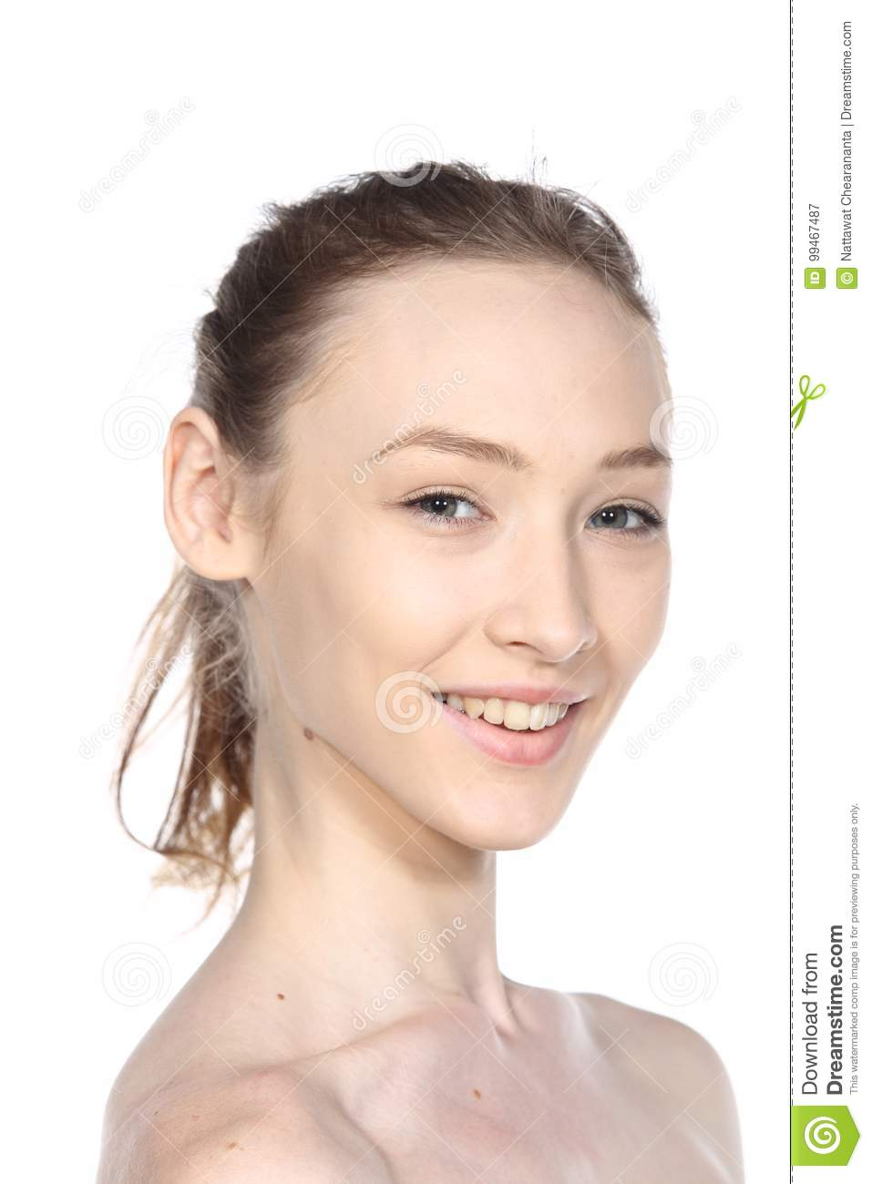 Caucasian Woman Before Make Up Hair Style  No Retouch, Fresh
