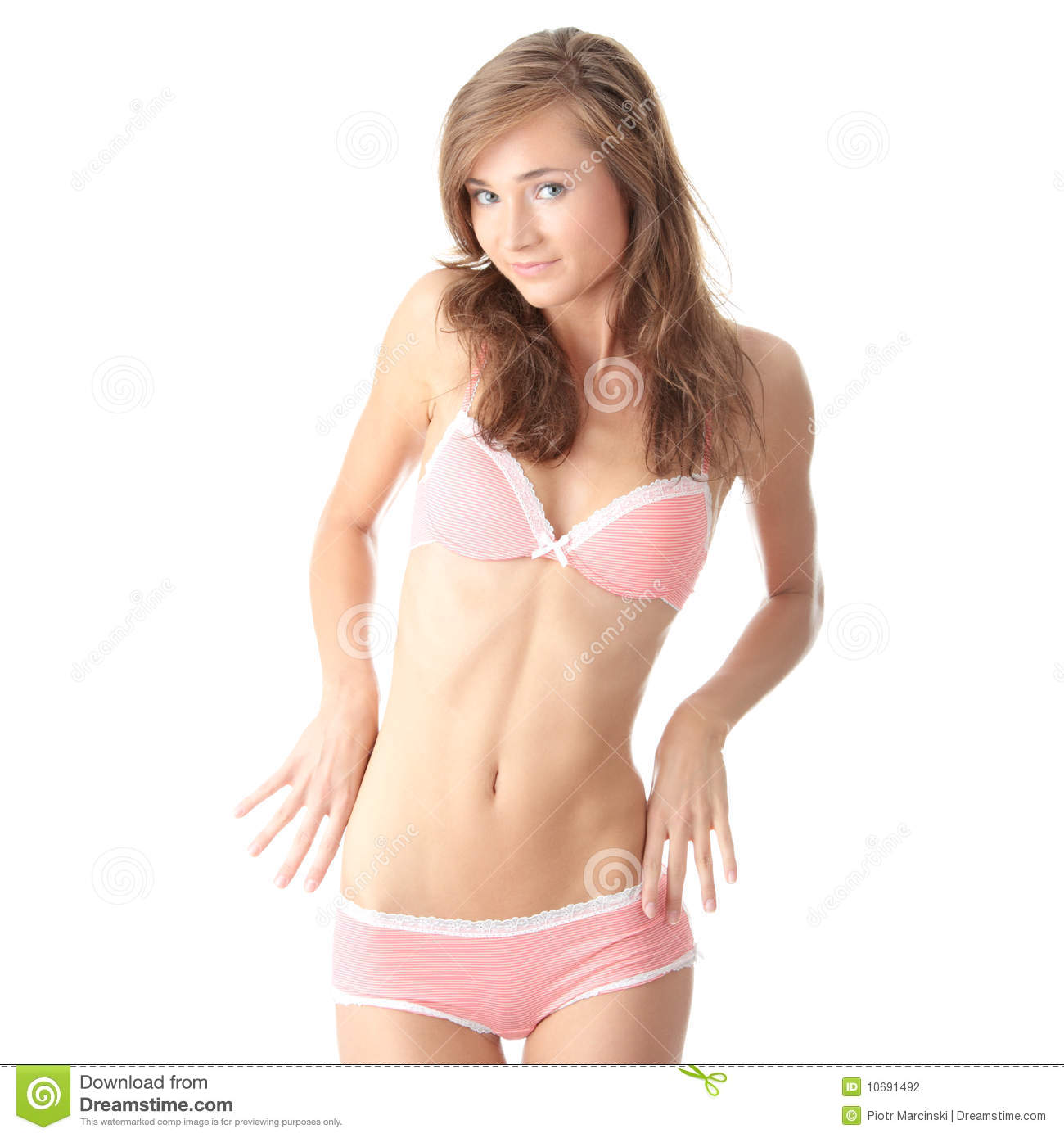 Caucasian Woman In Pink Underwear Isolated Stock