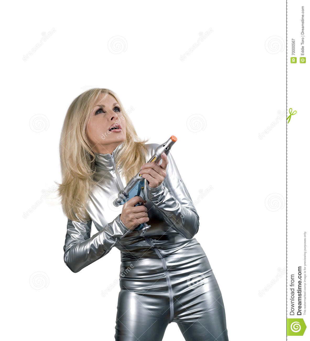 Caucasian woman in silver space suit with weapon stock for Female space suit