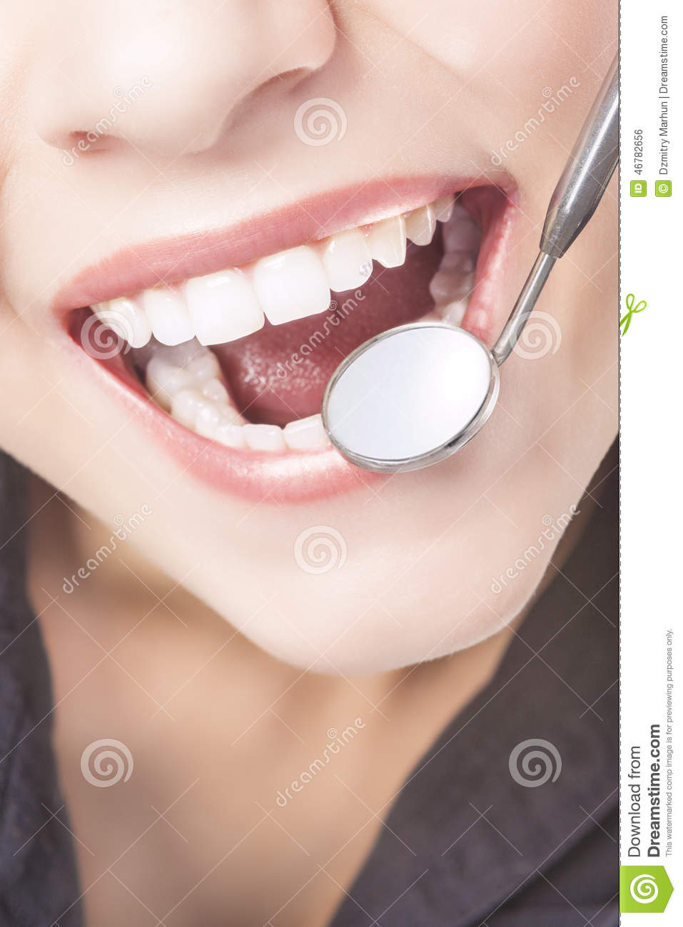 Caucasian Woman White Teeth With Dentist Mouth Mirror Stock Photo Image 46782656
