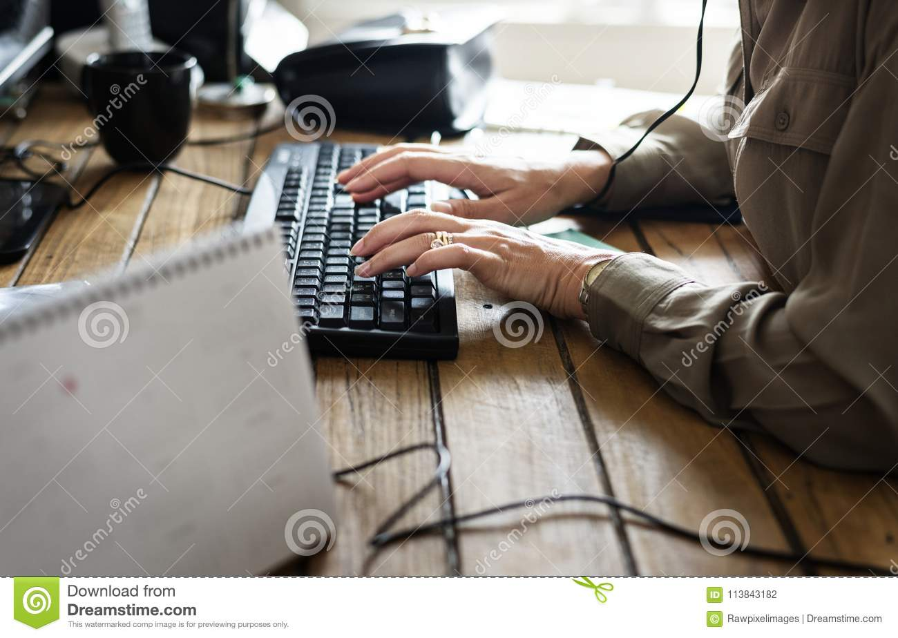 Caucasian woman working on computer