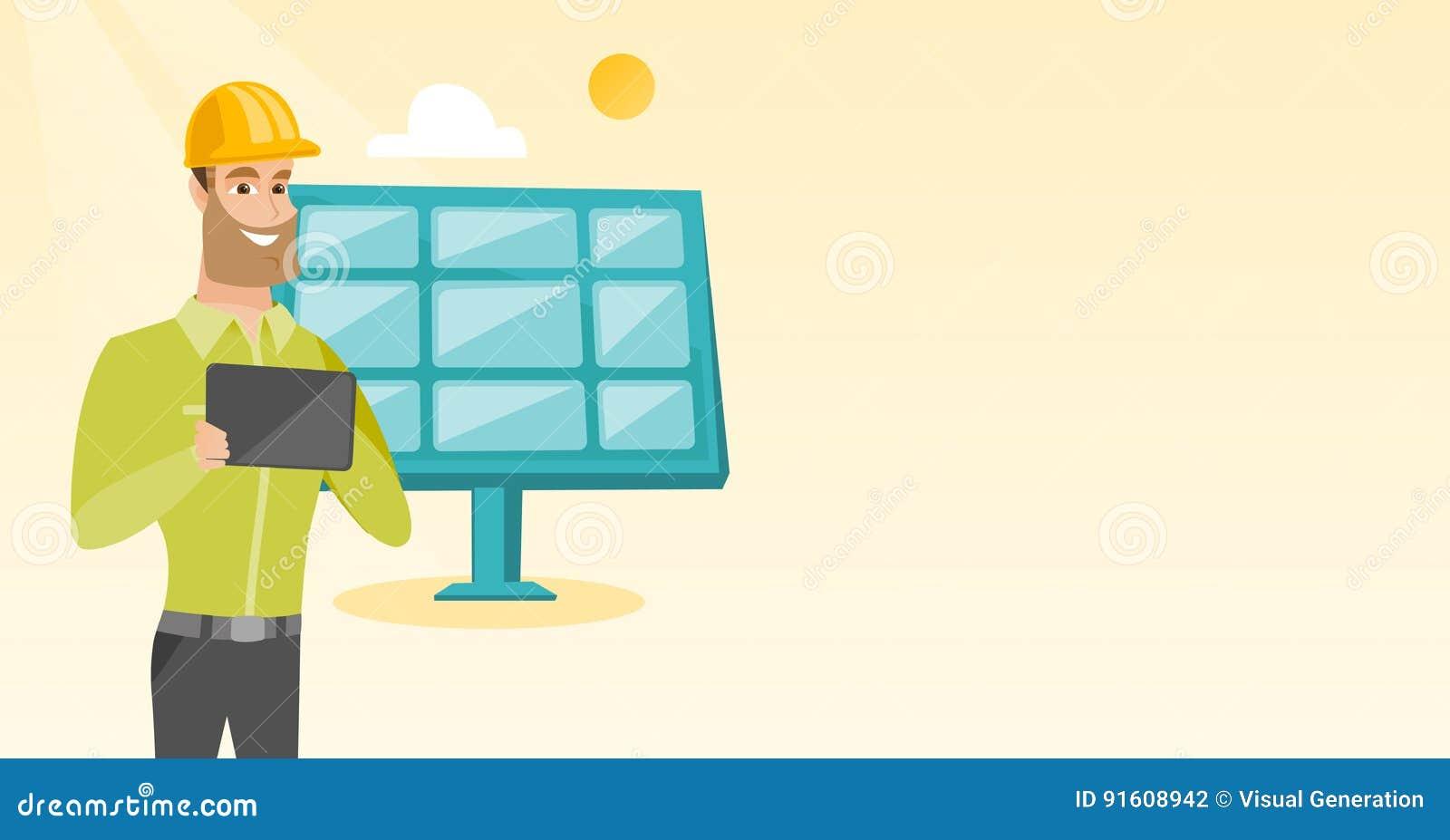caucasian worker of solar power plant stock vector illustration