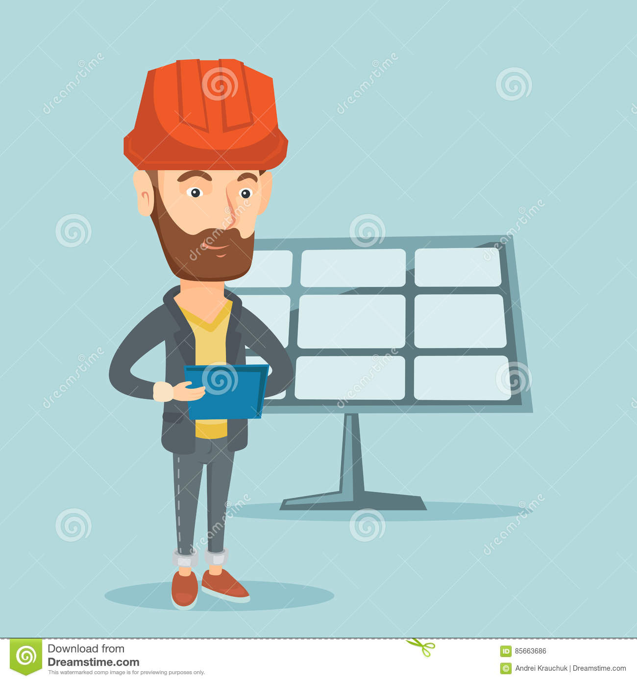 Caucasian Worker Of Solar Power Plant Stock Vector Illustration Engineering Layout
