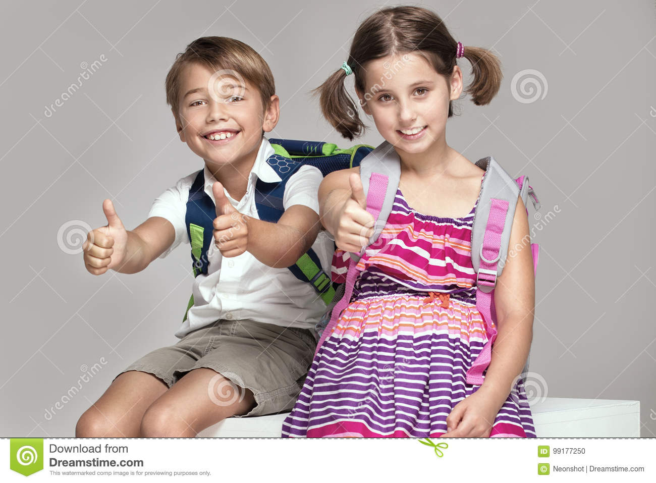 Two Kids Posing With Backpacks Stock Photo Image Of Homework