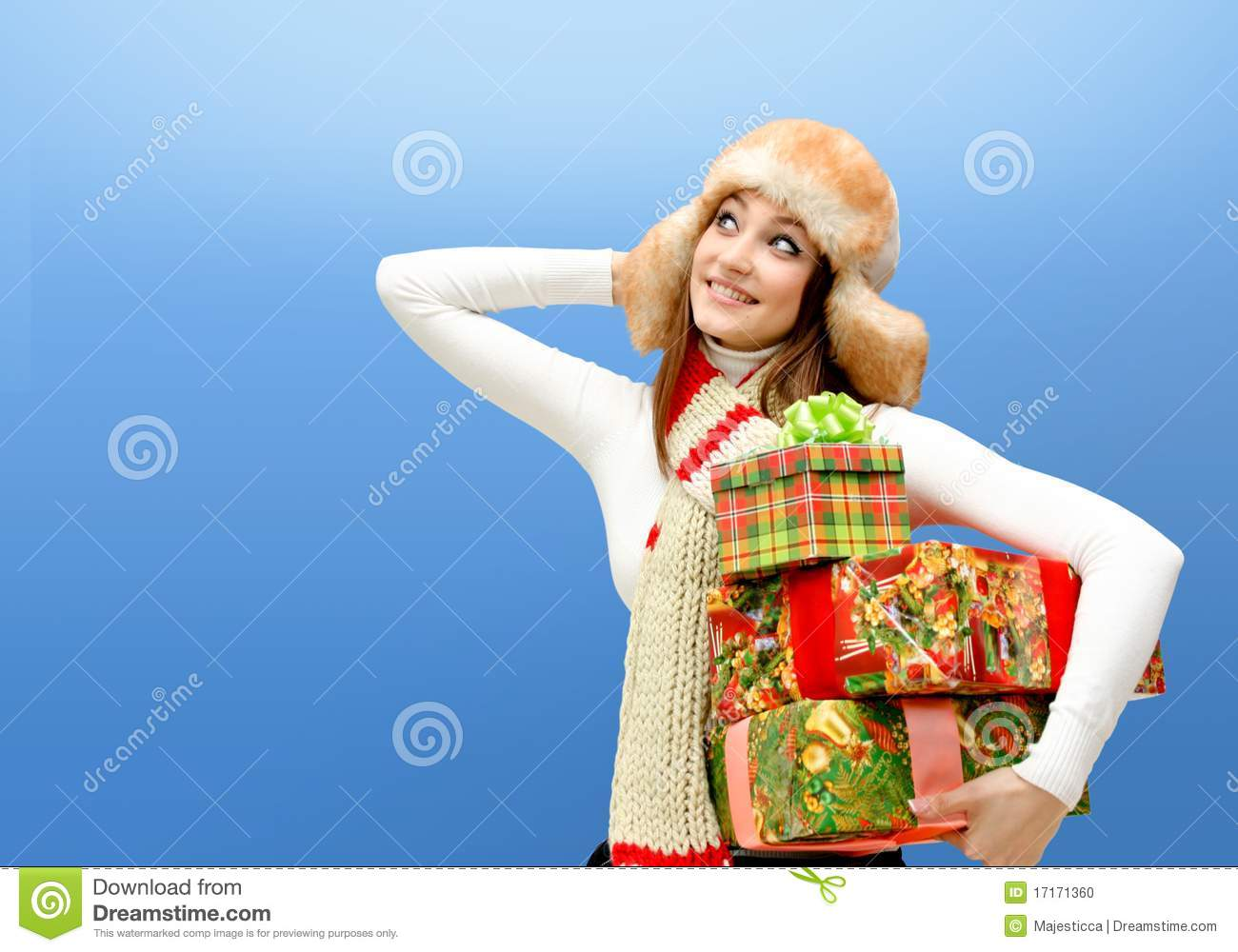 Caucasian Young Woman With Christmas Gifts Stock Photo