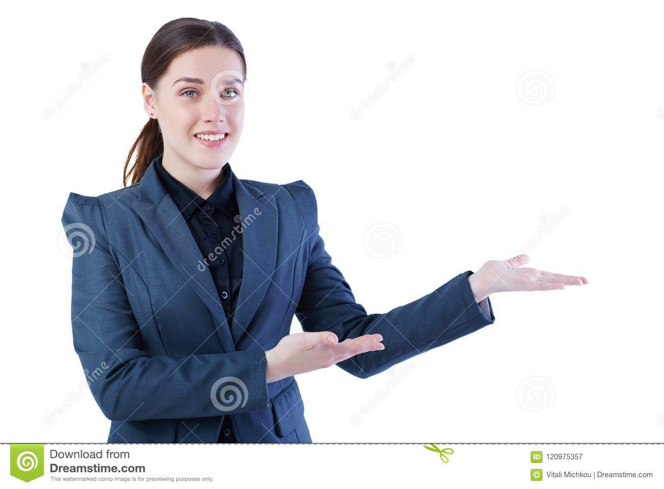 Young Caucasian woman holding her arm out and showing copy space for product. Isolated over white background.