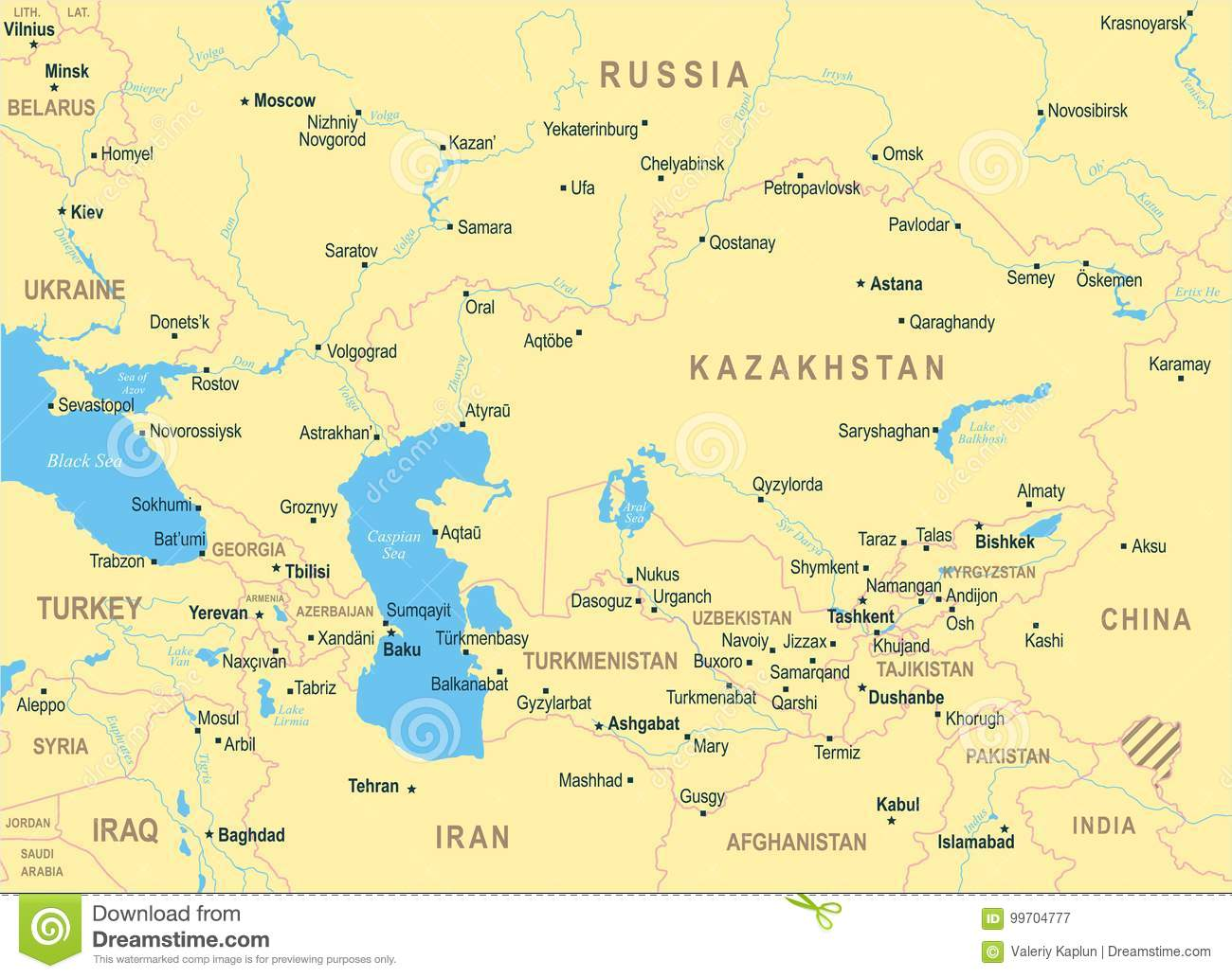 Caucasus And Central Asia Map Vector Illustration Stock - Taraz map